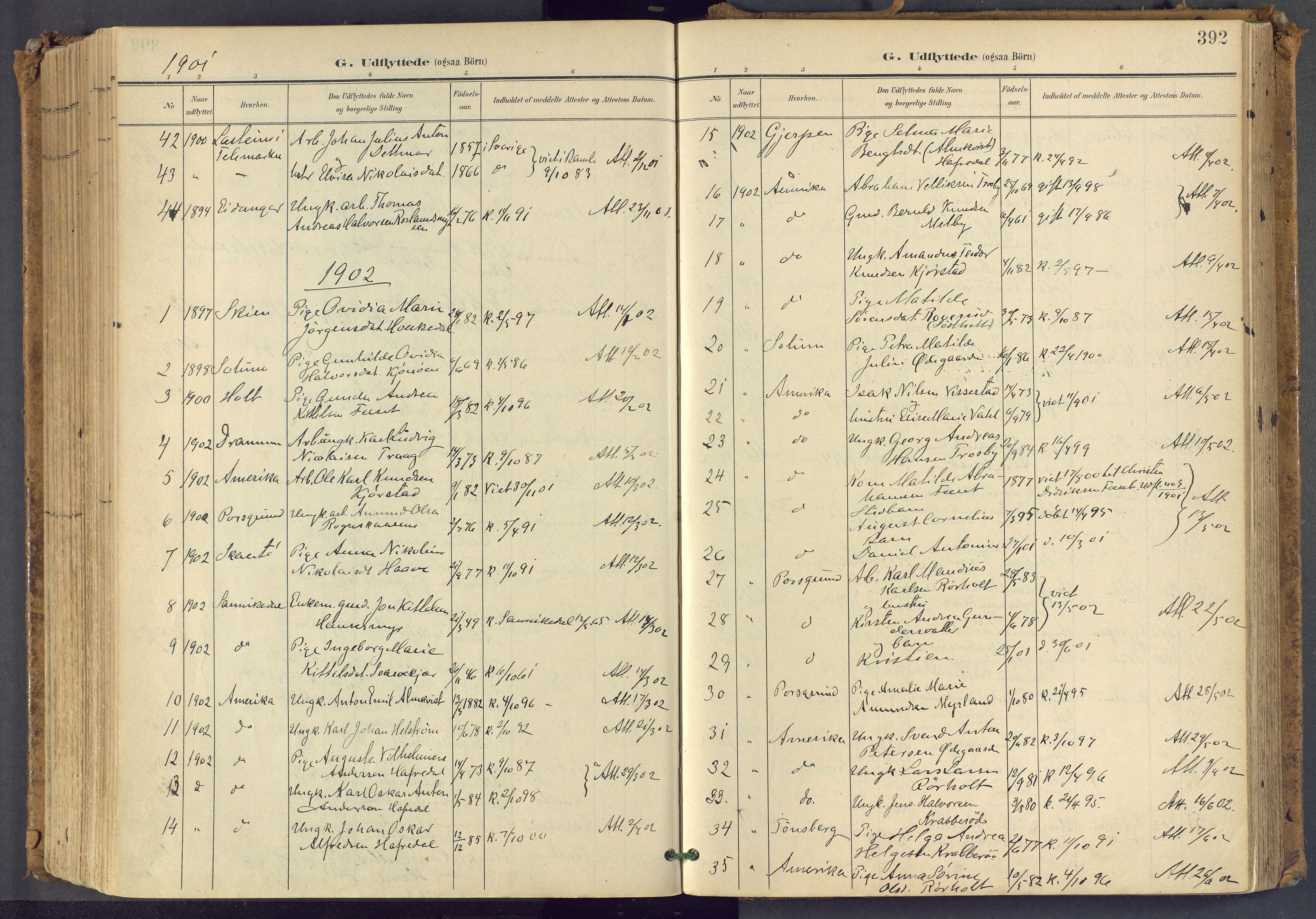 SAKO, Bamble kirkebøker, F/Fa/L0009: Ministerialbok nr. I 9, 1901-1917, s. 392