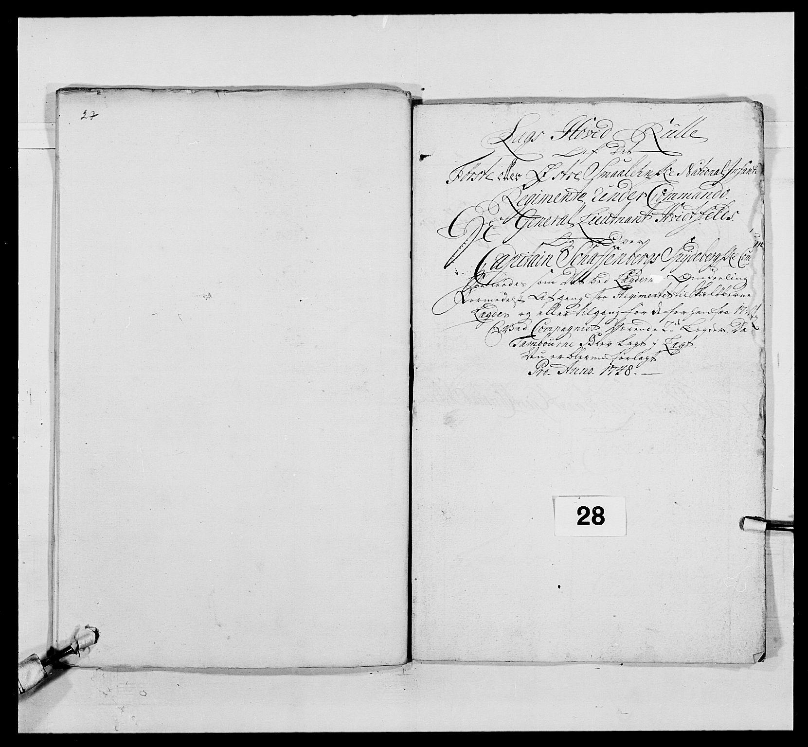RA, Kommanderende general (KG I) med Det norske krigsdirektorium, E/Ea/L0495: 1. Smålenske regiment, 1732-1763, s. 428