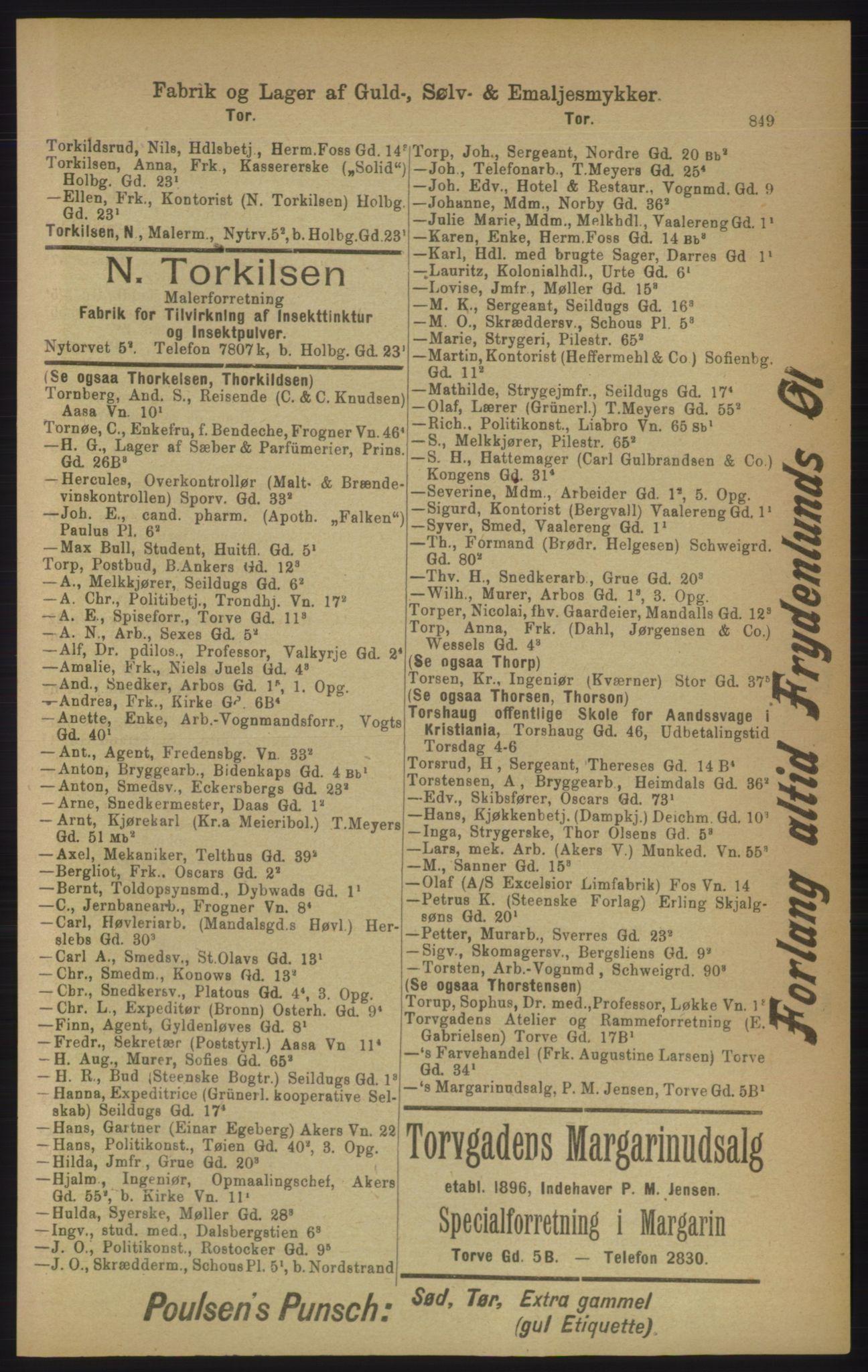 RA, Kristiania adressebok (publikasjon)*, 1906, s. 849