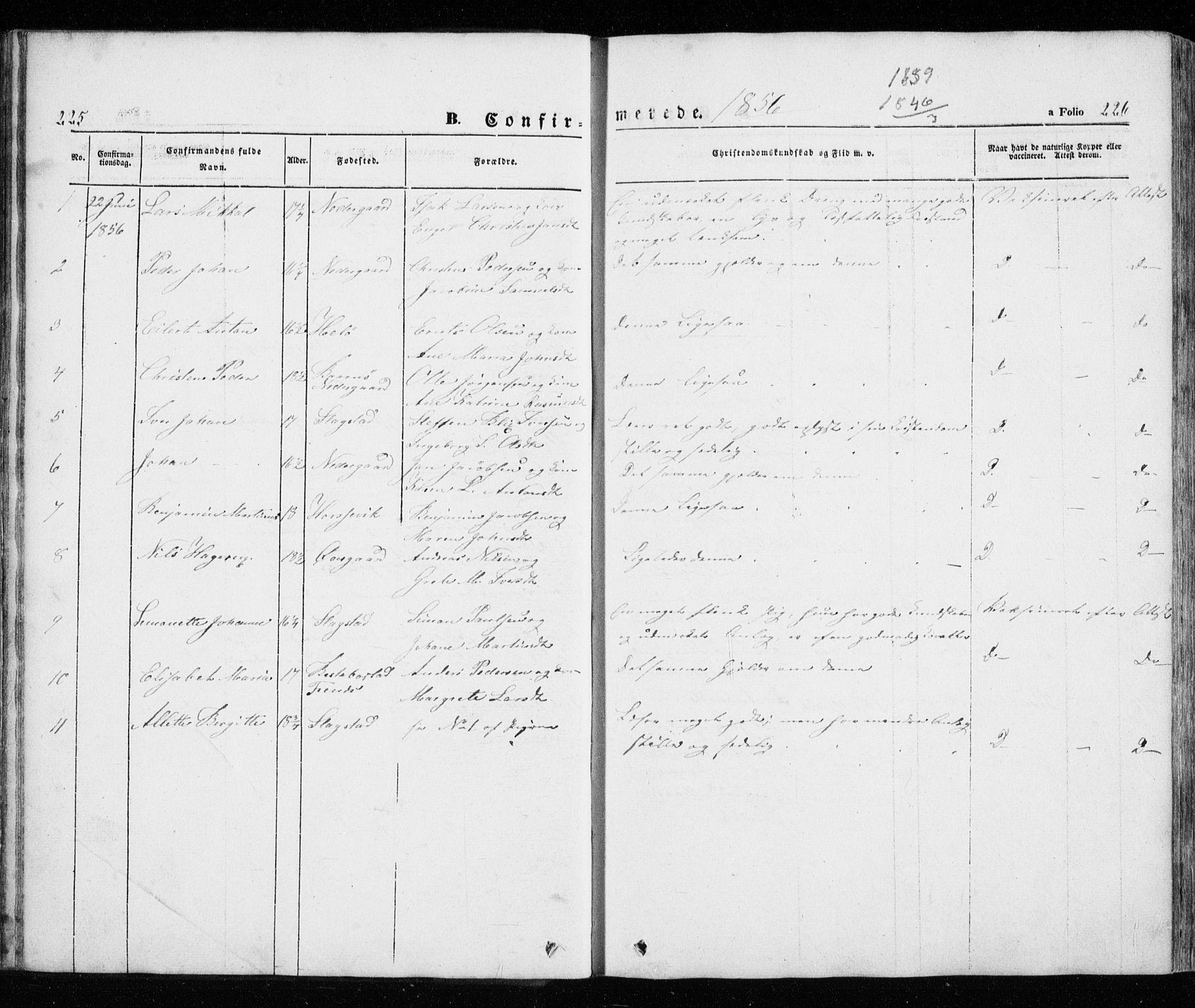 SATØ, Trondenes sokneprestkontor, H/Ha/L0010kirke: Ministerialbok nr. 10, 1840-1865, s. 225-226