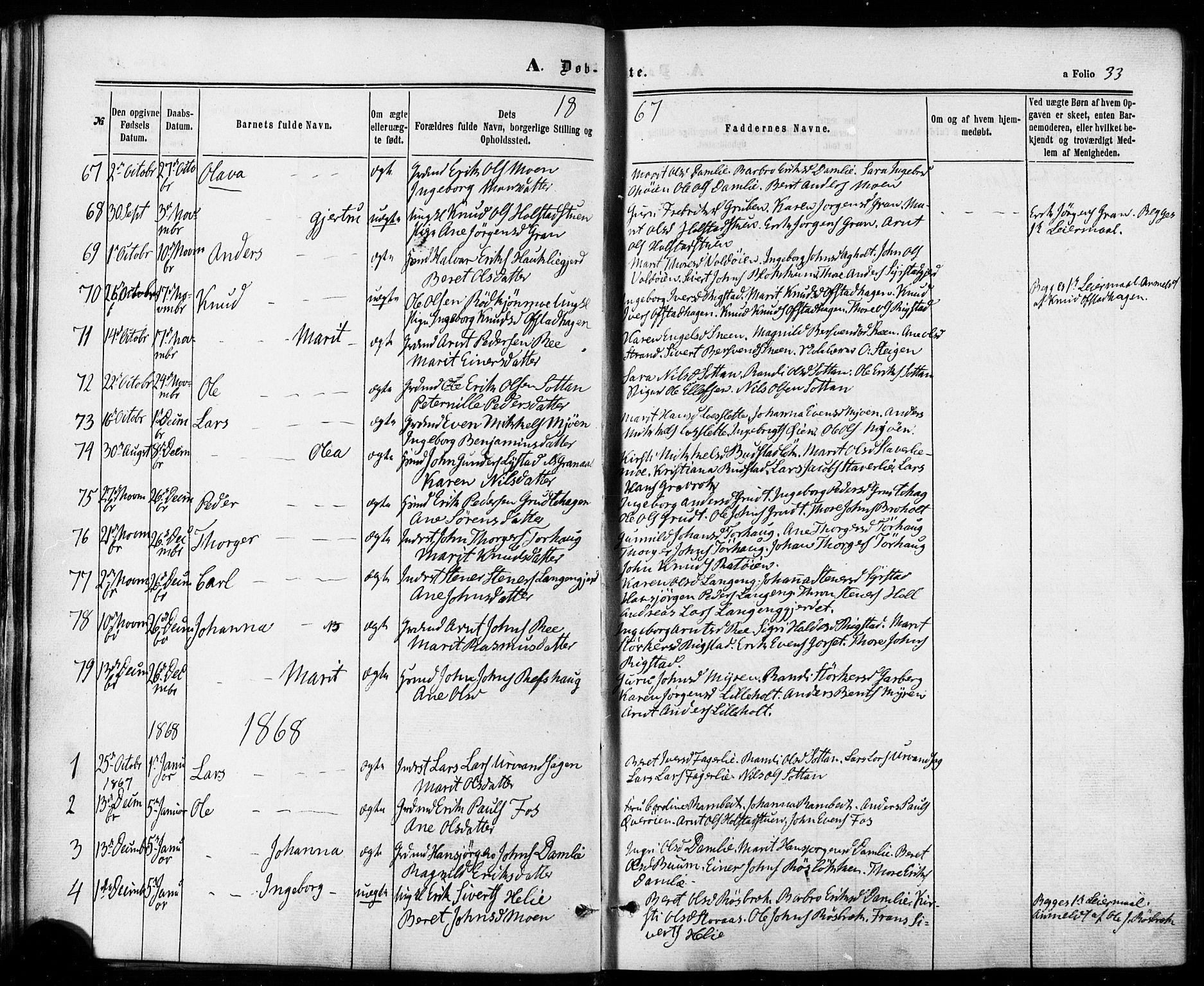 SAT, Ministerialprotokoller, klokkerbøker og fødselsregistre - Sør-Trøndelag, 672/L0856: Ministerialbok nr. 672A08, 1861-1881, s. 33