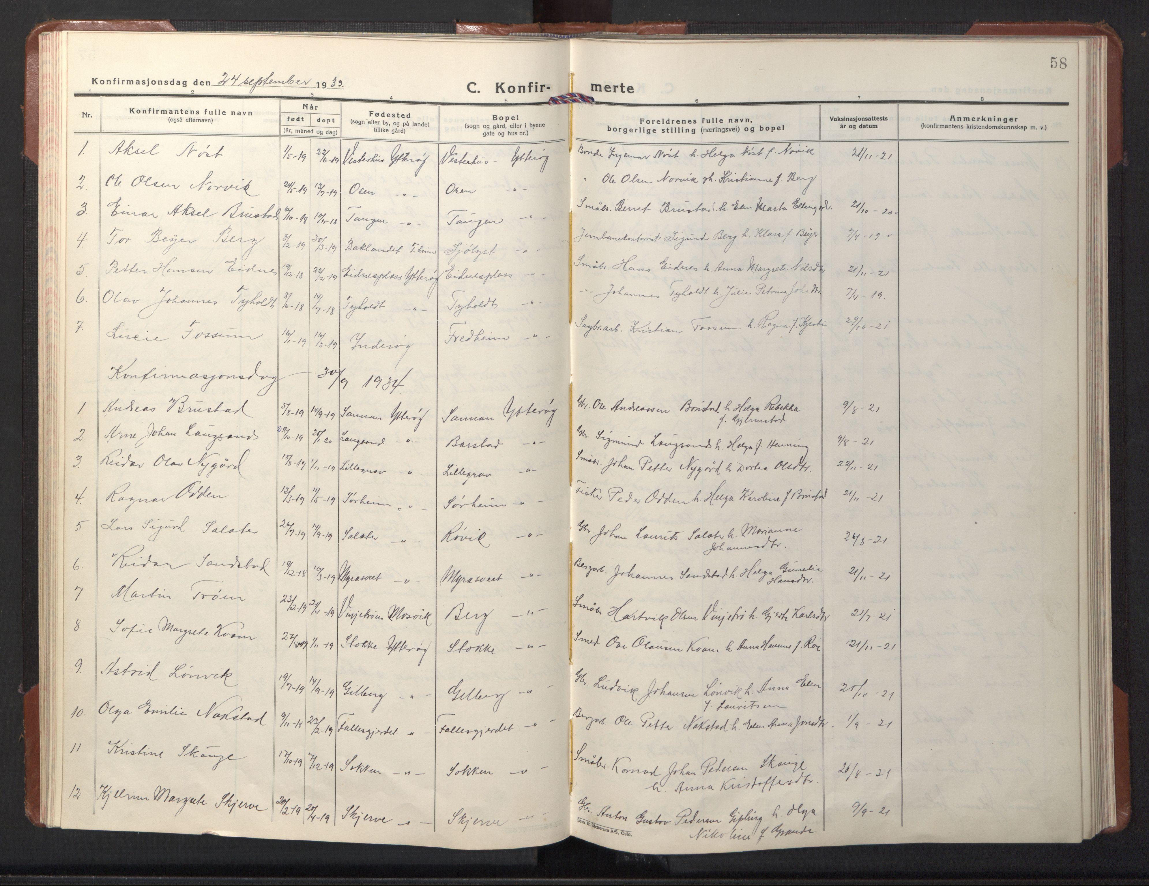 SAT, Ministerialprotokoller, klokkerbøker og fødselsregistre - Nord-Trøndelag, 722/L0227: Klokkerbok nr. 722C03, 1928-1958, s. 58