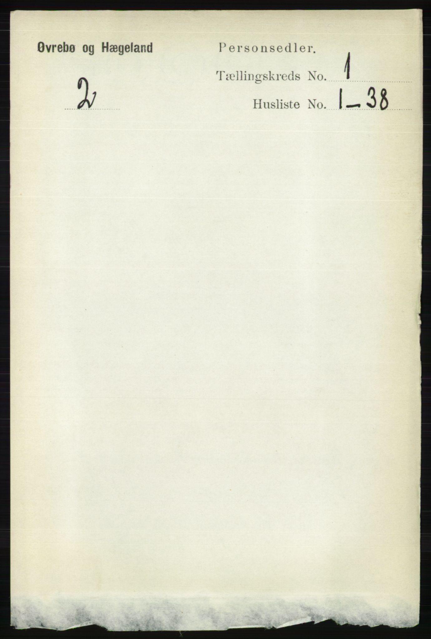 RA, Folketelling 1891 for 1016 Øvrebø og Hægeland herred, 1891, s. 67