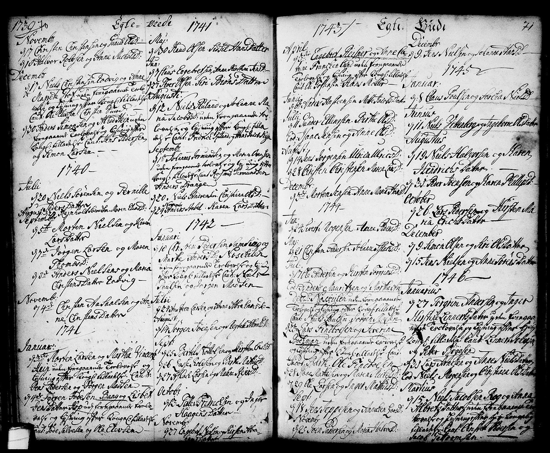 SAKO, Kragerø kirkebøker, F/Fa/L0001: Ministerialbok nr. 1, 1702-1766, s. 70-71