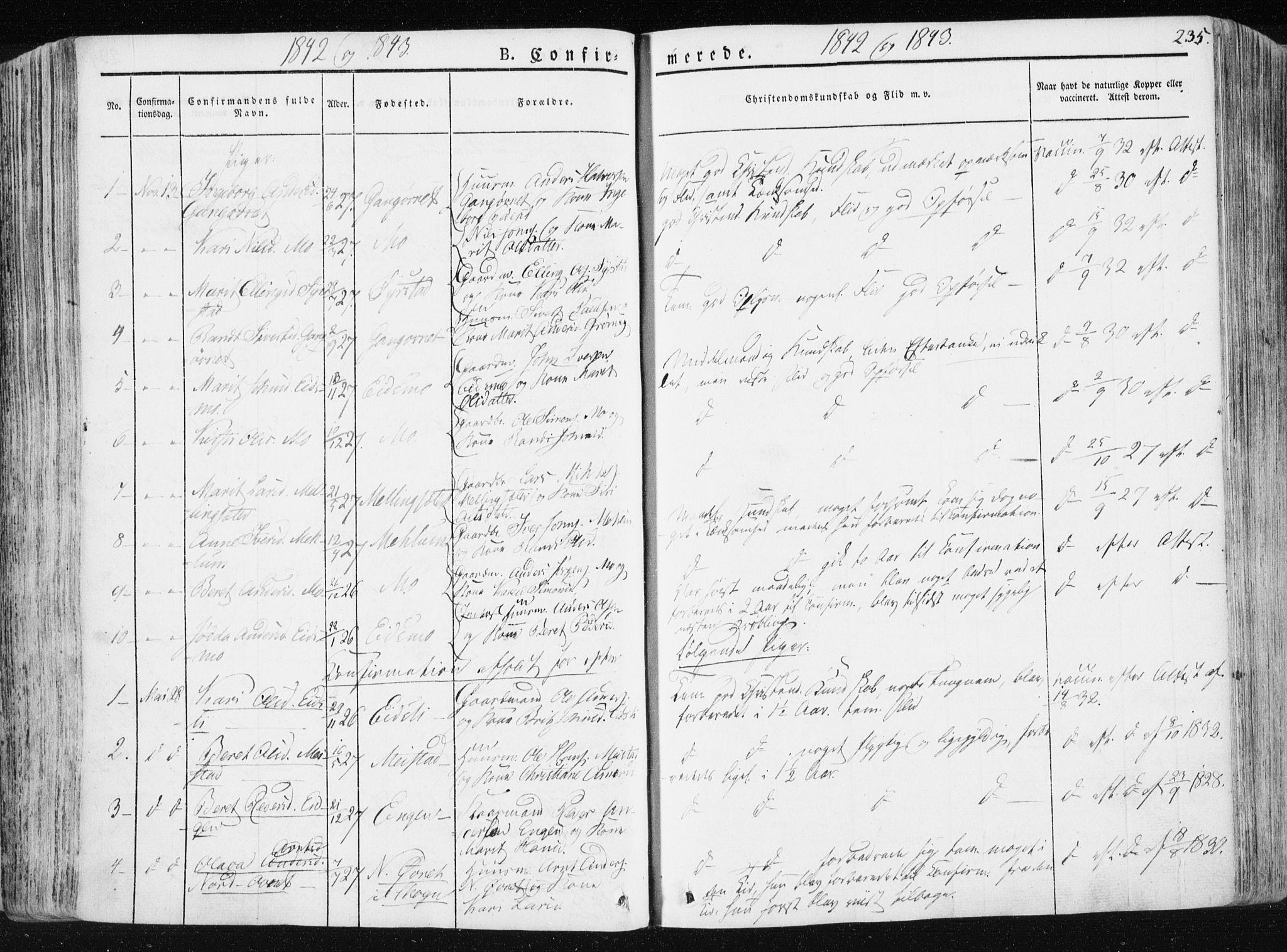 SAT, Ministerialprotokoller, klokkerbøker og fødselsregistre - Sør-Trøndelag, 665/L0771: Ministerialbok nr. 665A06, 1830-1856, s. 235