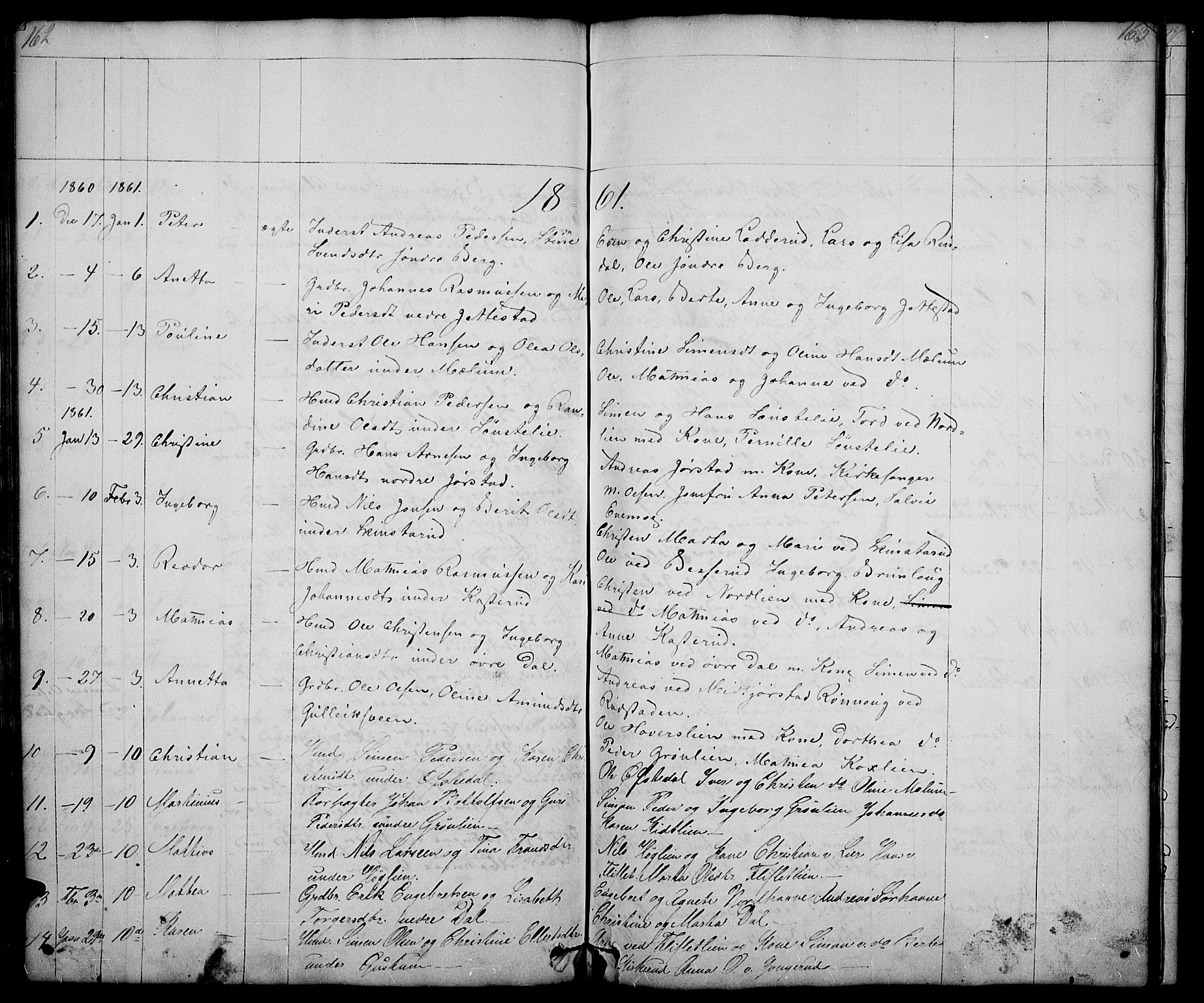 SAH, Fåberg prestekontor, Klokkerbok nr. 5, 1837-1864, s. 162-163