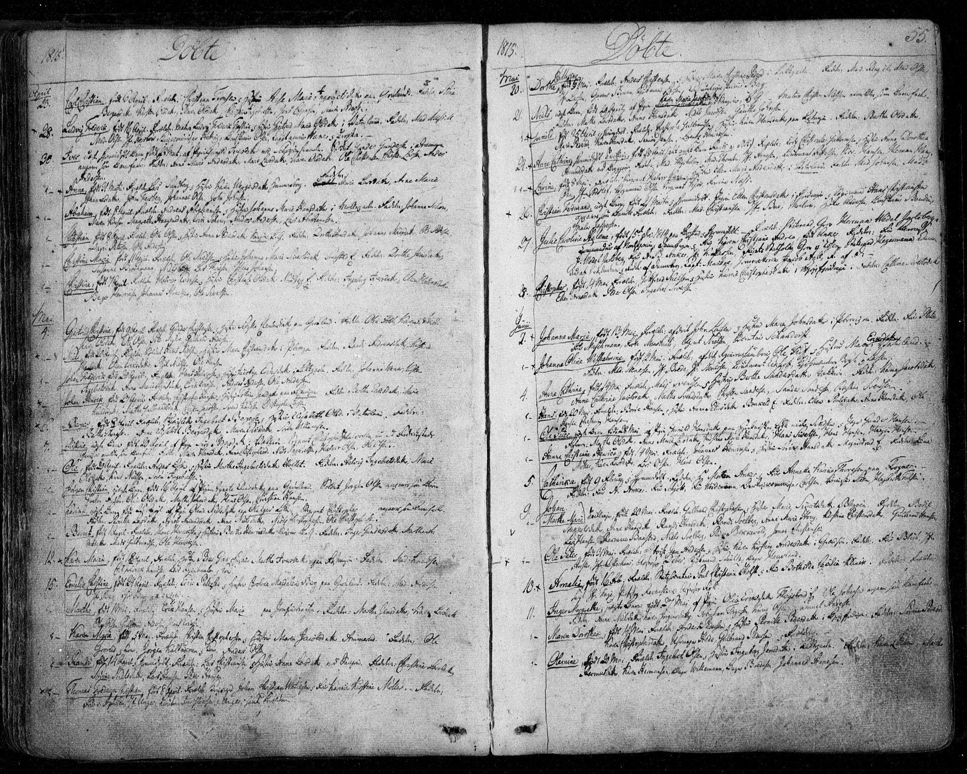 SAO, Aker prestekontor kirkebøker, F/L0011: Ministerialbok nr. 11, 1810-1819, s. 55