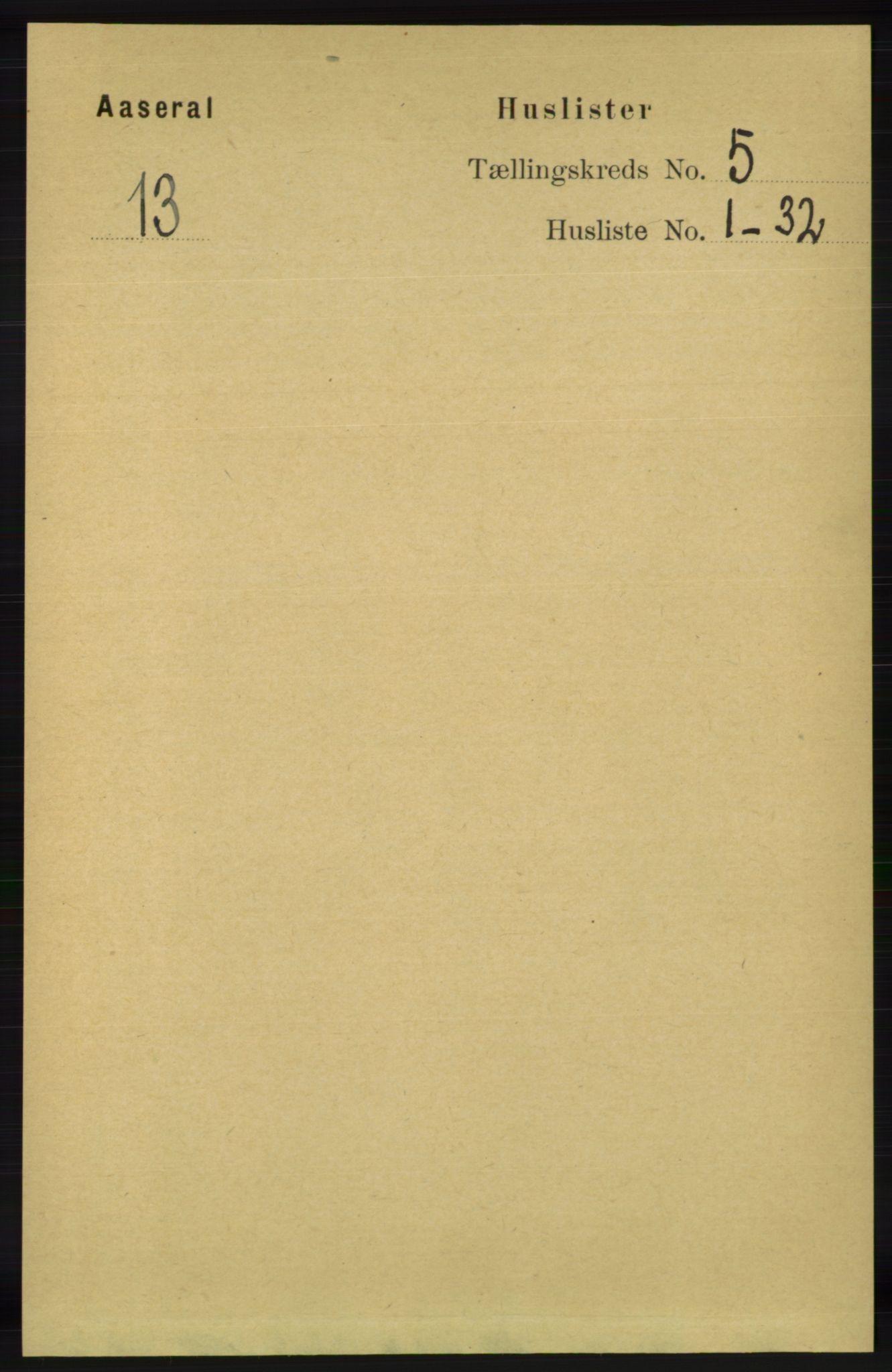 RA, Folketelling 1891 for 1026 Åseral herred, 1891, s. 1415