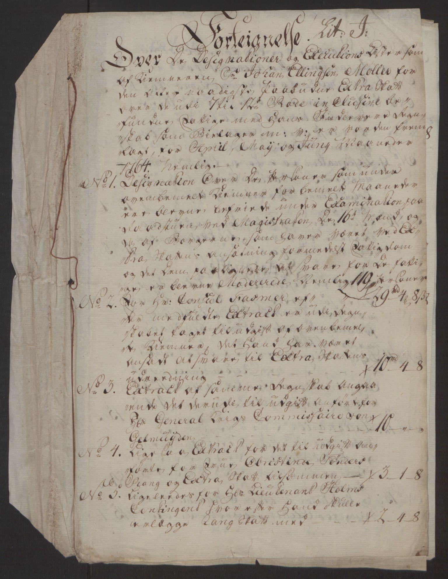 RA, Rentekammeret inntil 1814, Reviderte regnskaper, Byregnskaper, R/Rp/L0367: [P21] Kontribusjonsregnskap, 1764, s. 281