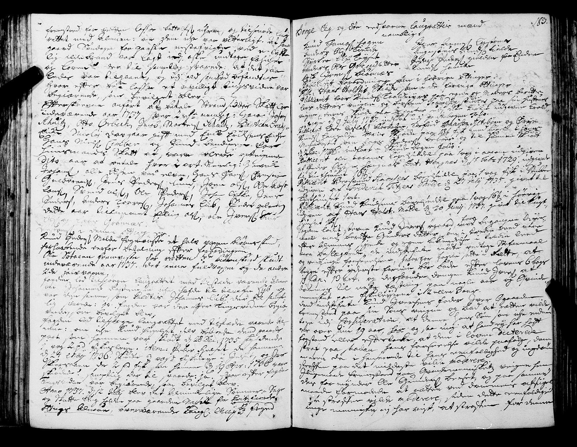 SAT, Romsdal sorenskriveri, 1/1A/L0011: Tingbok, 1732-1740, s. 182b-183a