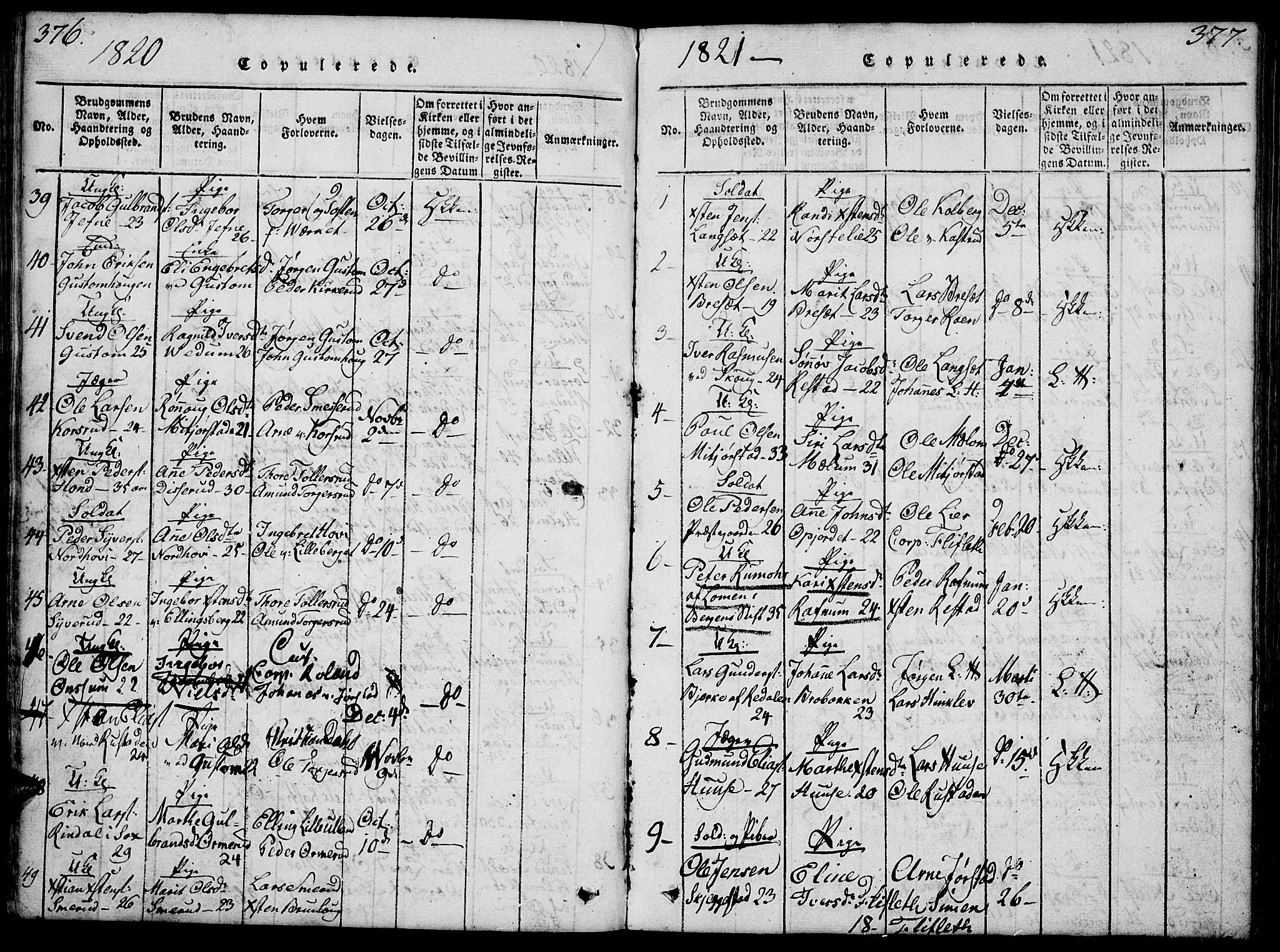 SAH, Fåberg prestekontor, Klokkerbok nr. 4, 1818-1837, s. 376-377
