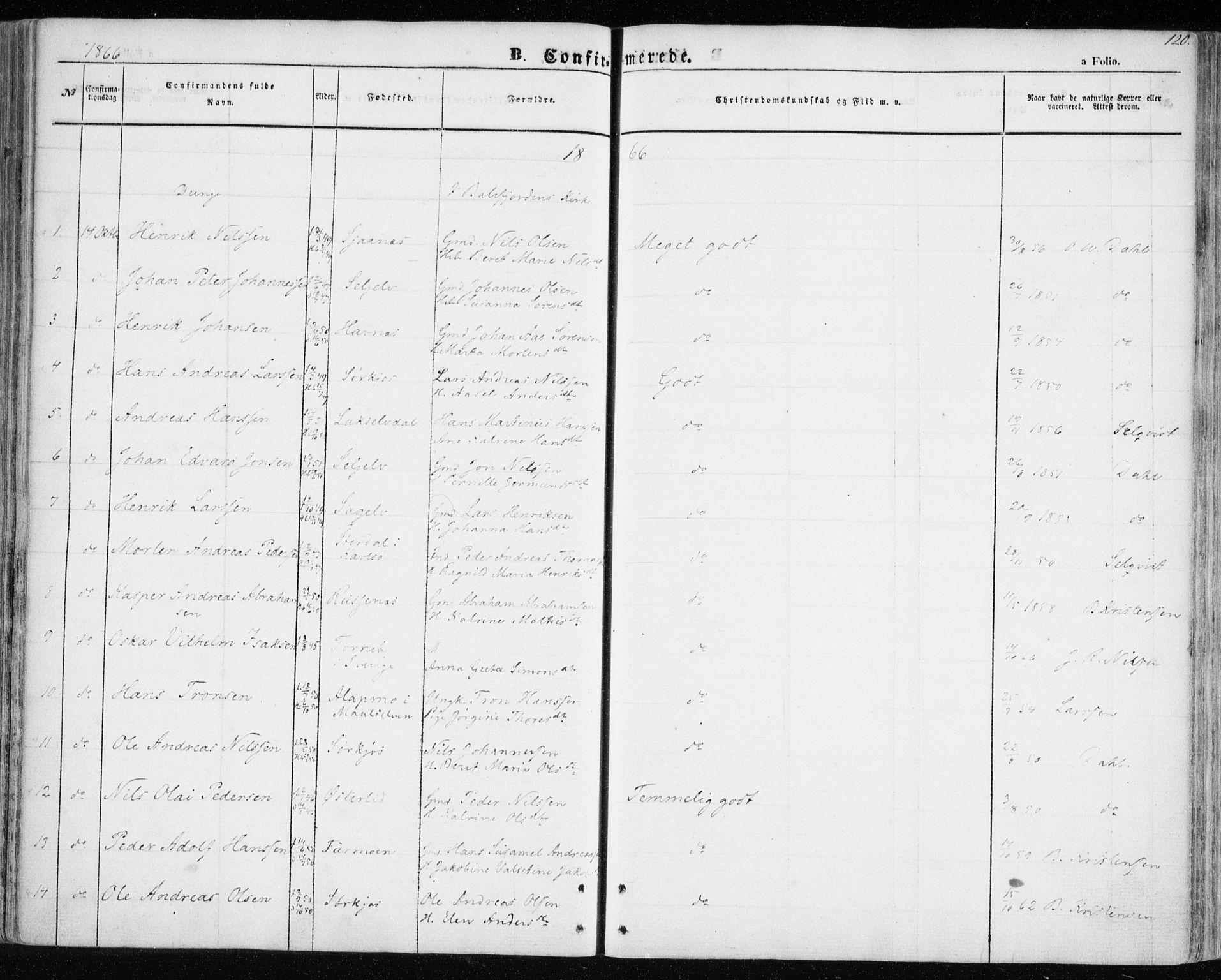 SATØ, Balsfjord sokneprestembete, Ministerialbok nr. 3, 1856-1870, s. 120
