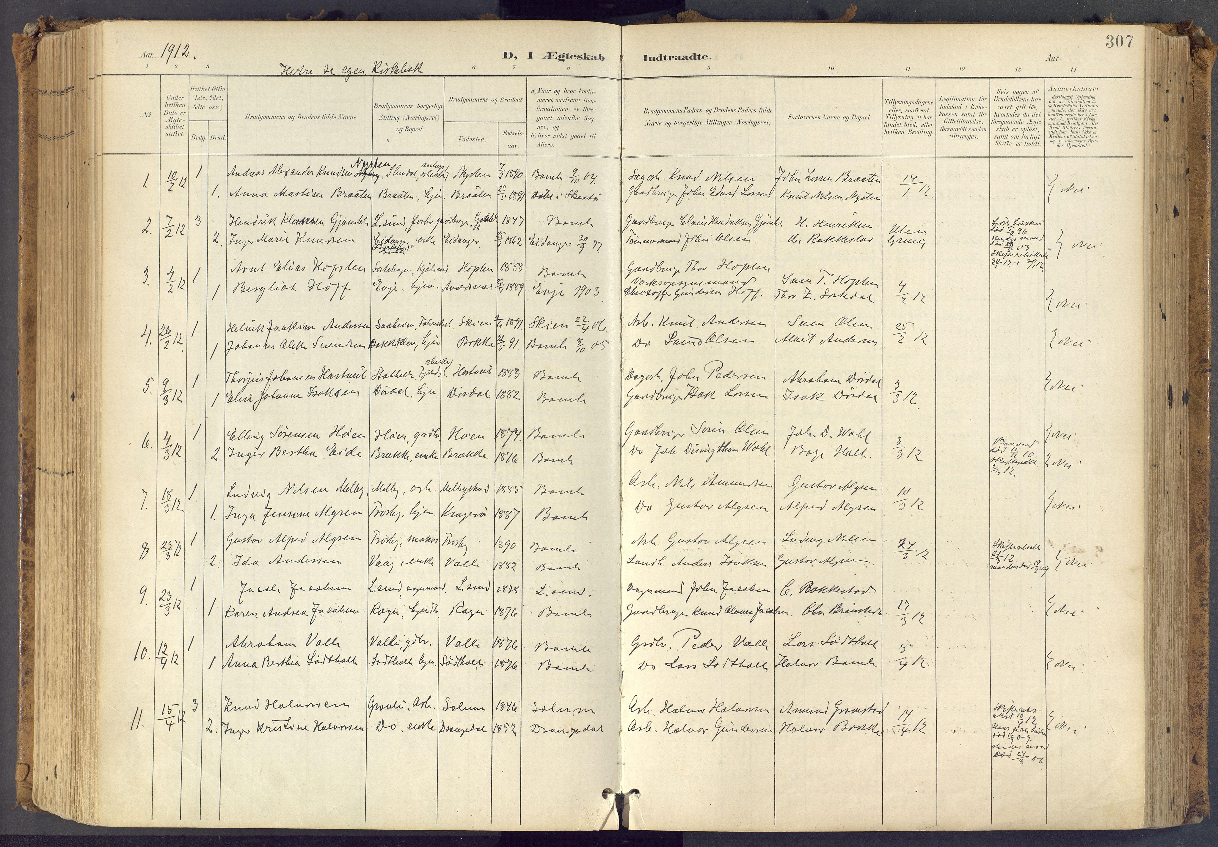SAKO, Bamble kirkebøker, F/Fa/L0009: Ministerialbok nr. I 9, 1901-1917, s. 307
