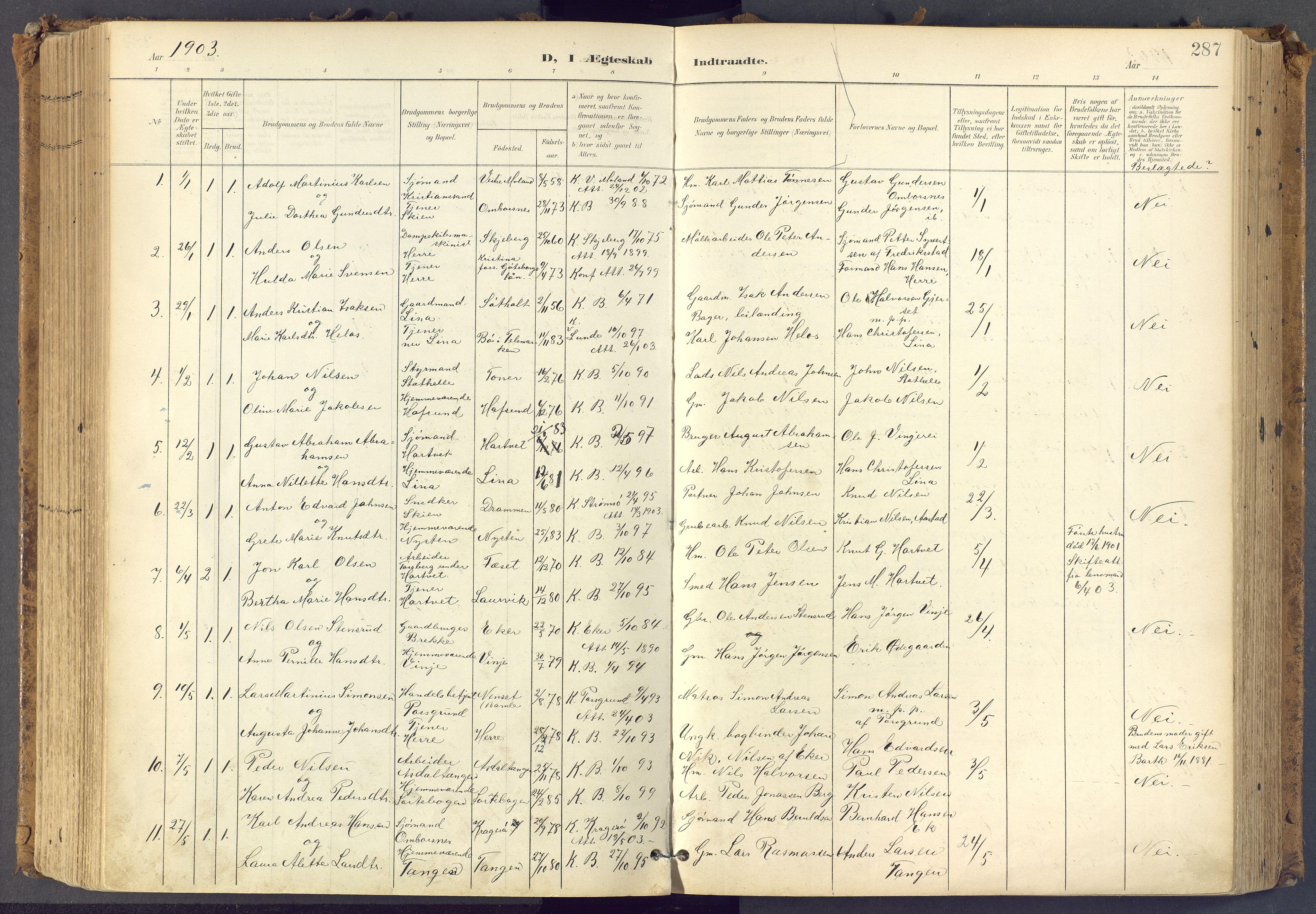 SAKO, Bamble kirkebøker, F/Fa/L0009: Ministerialbok nr. I 9, 1901-1917, s. 287