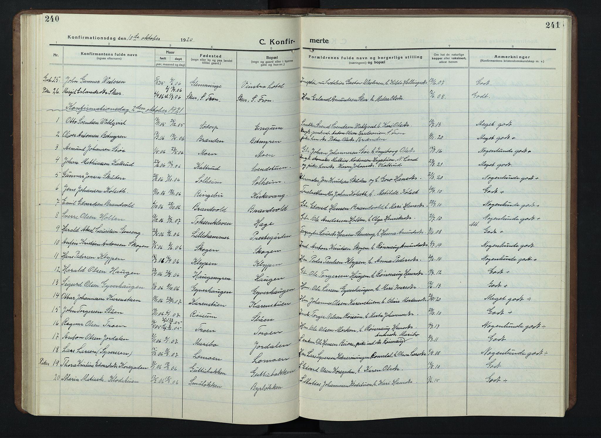 SAH, Nord-Fron prestekontor, Klokkerbok nr. 7, 1915-1946, s. 240-241