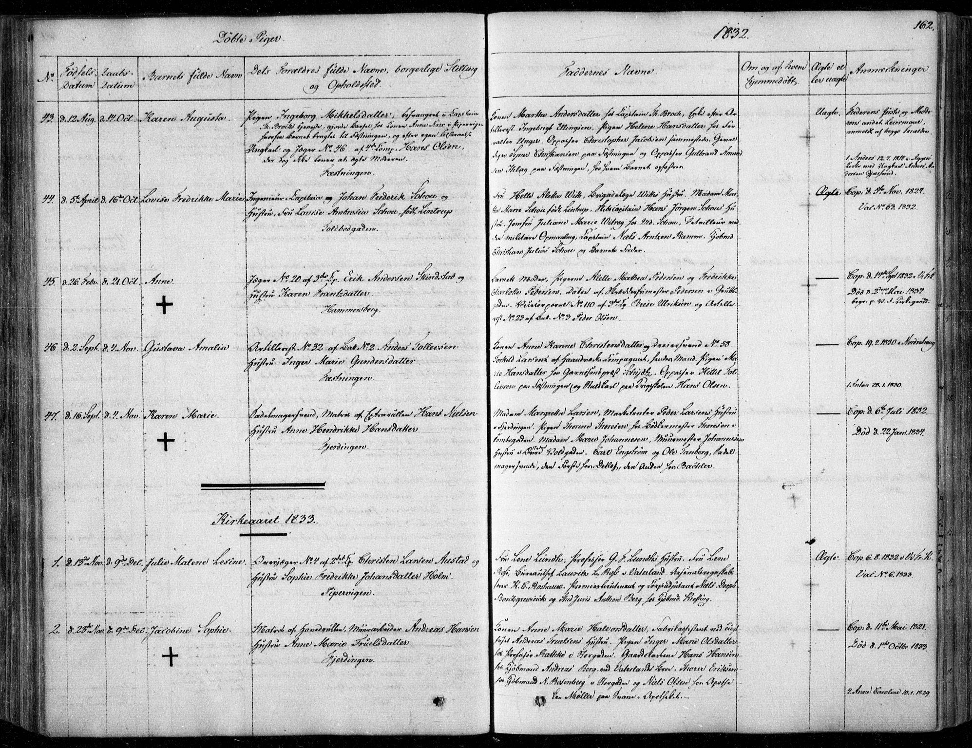 SAO, Garnisonsmenigheten Kirkebøker, F/Fa/L0006: Ministerialbok nr. 6, 1828-1841, s. 162