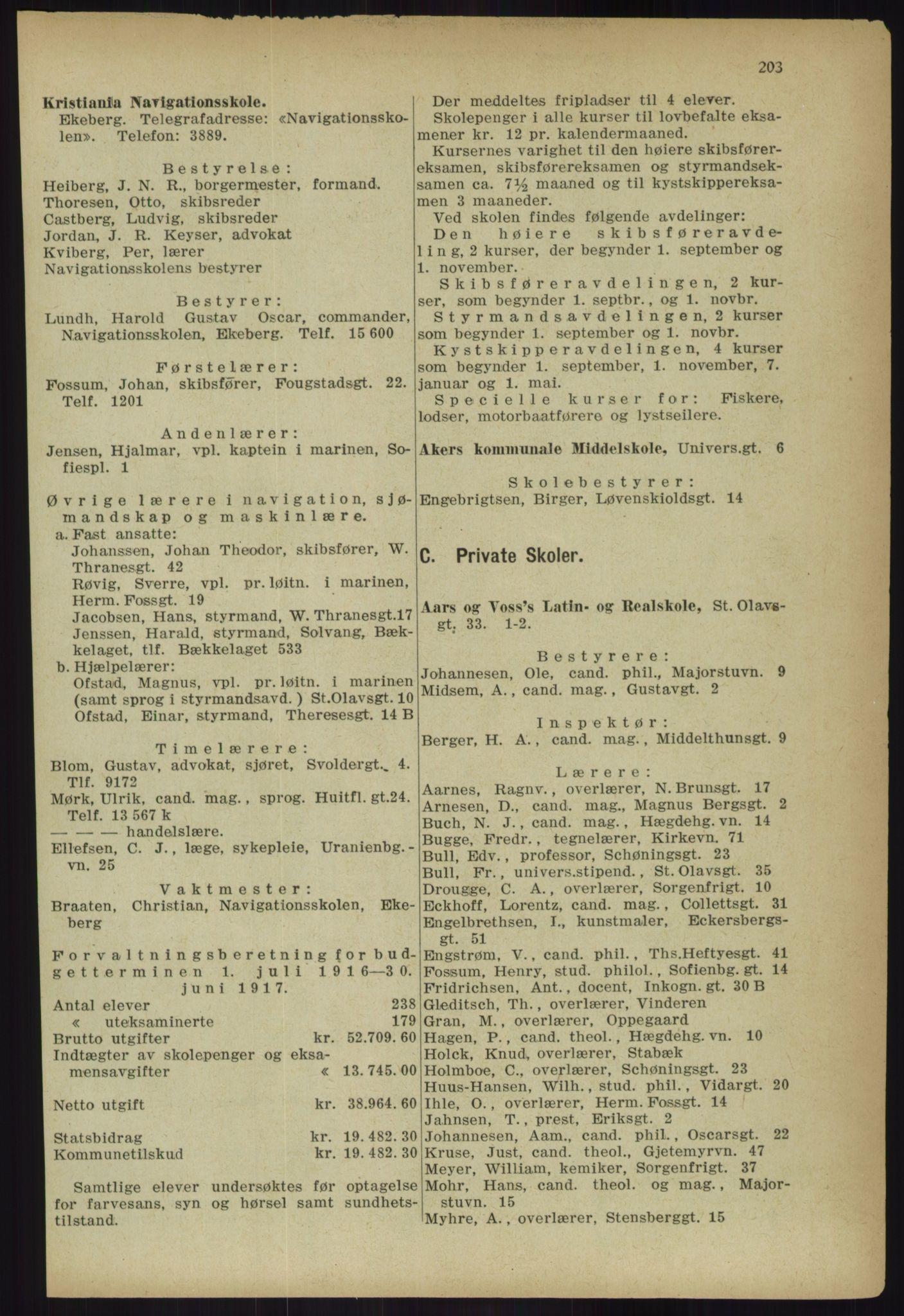 RA, Kristiania adressebok (publikasjon)*, 1918, s. 203
