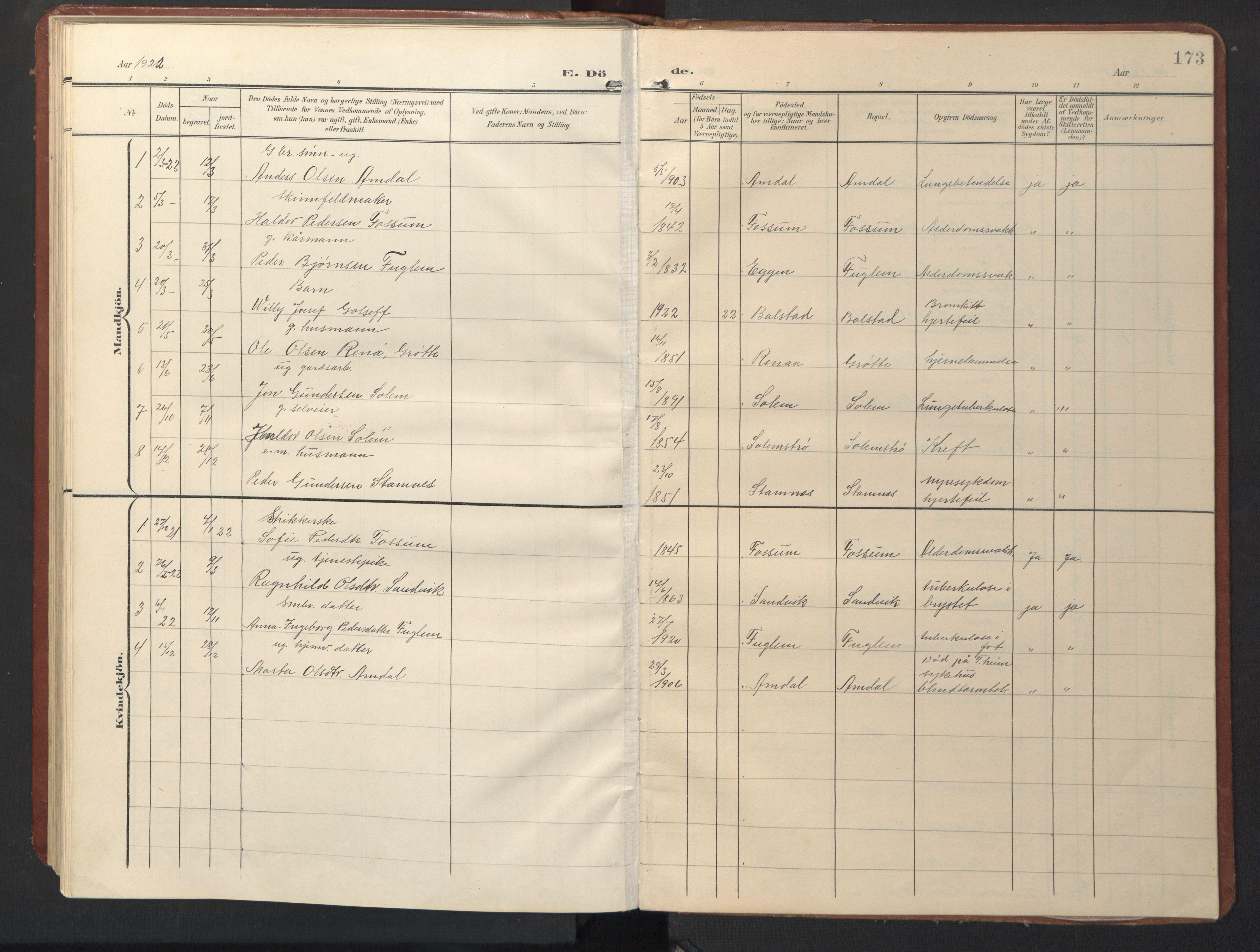 SAT, Ministerialprotokoller, klokkerbøker og fødselsregistre - Sør-Trøndelag, 696/L1161: Klokkerbok nr. 696C01, 1902-1950, s. 173