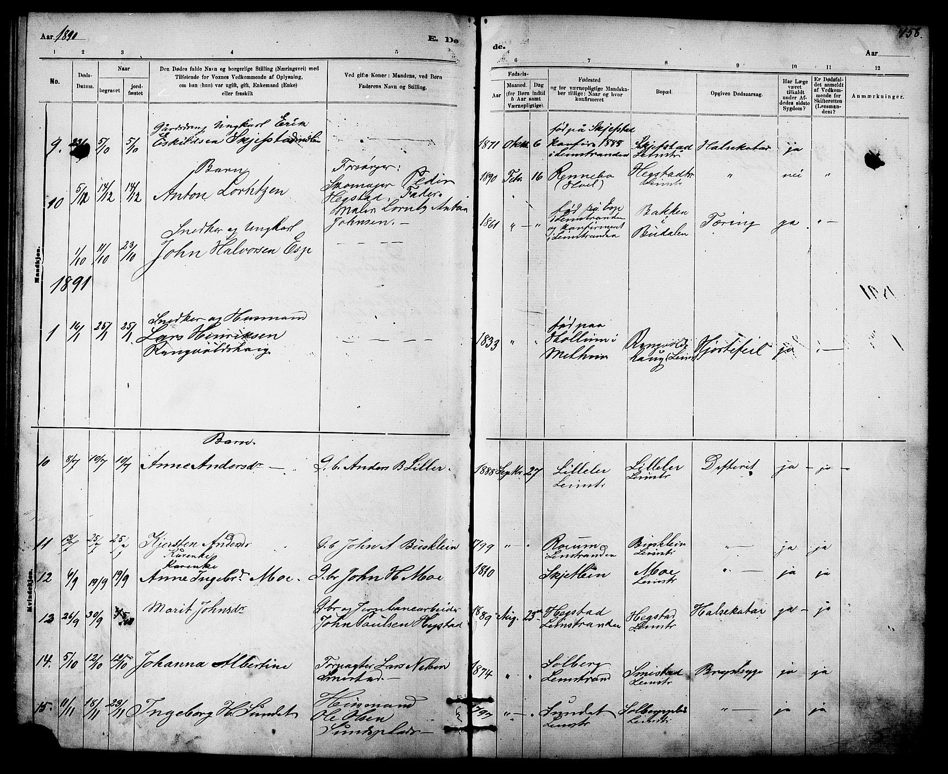 SAT, Ministerialprotokoller, klokkerbøker og fødselsregistre - Sør-Trøndelag, 613/L0395: Klokkerbok nr. 613C03, 1887-1909, s. 158