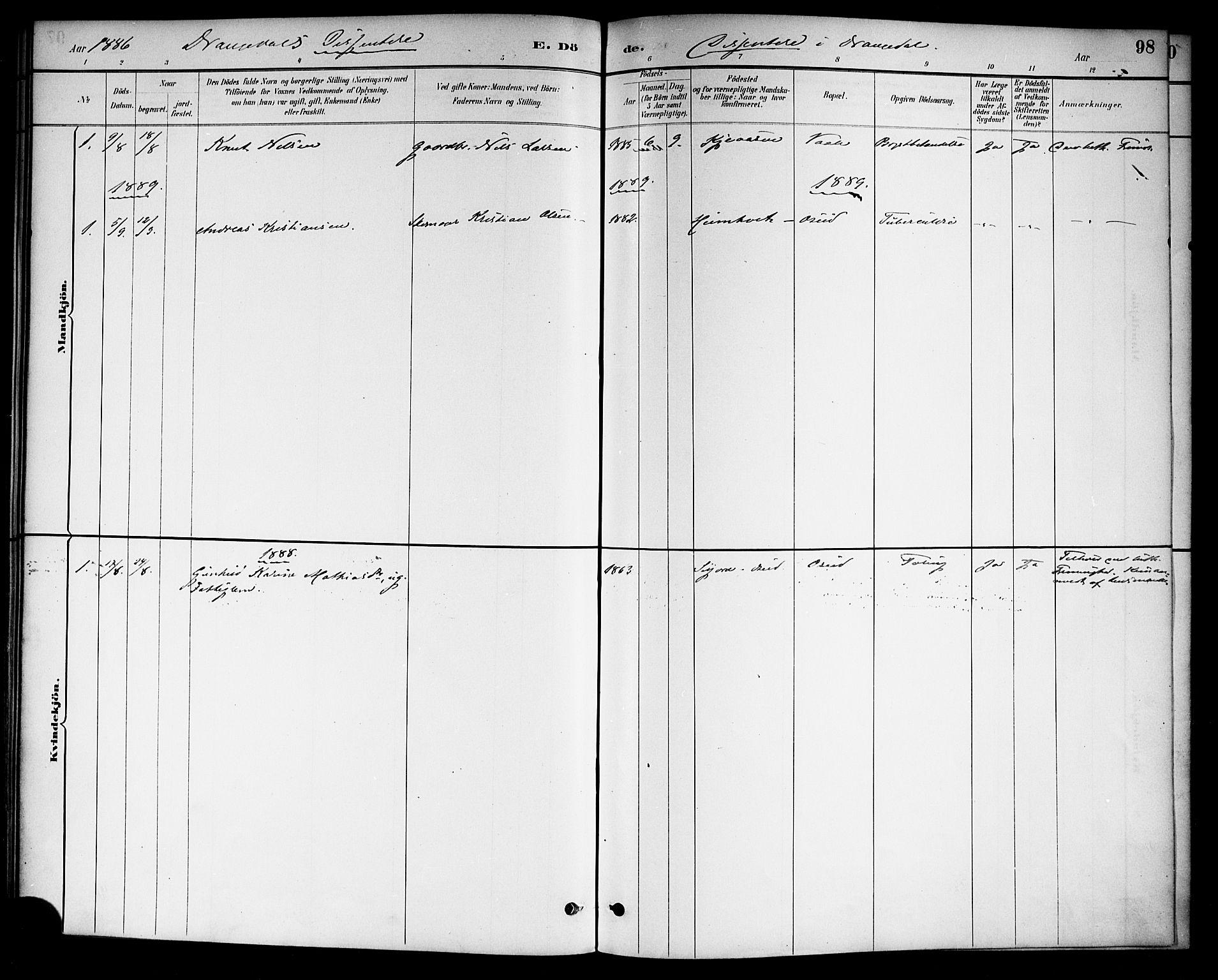 SAKO, Drangedal kirkebøker, F/Fa/L0011: Ministerialbok nr. 11 /1, 1885-1894, s. 98