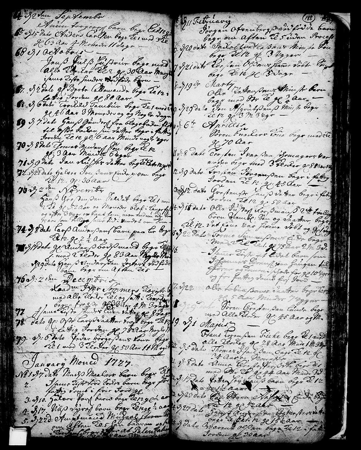 SAKO, Skien kirkebøker, F/Fa/L0002: Ministerialbok nr. 2, 1716-1757, s. 188