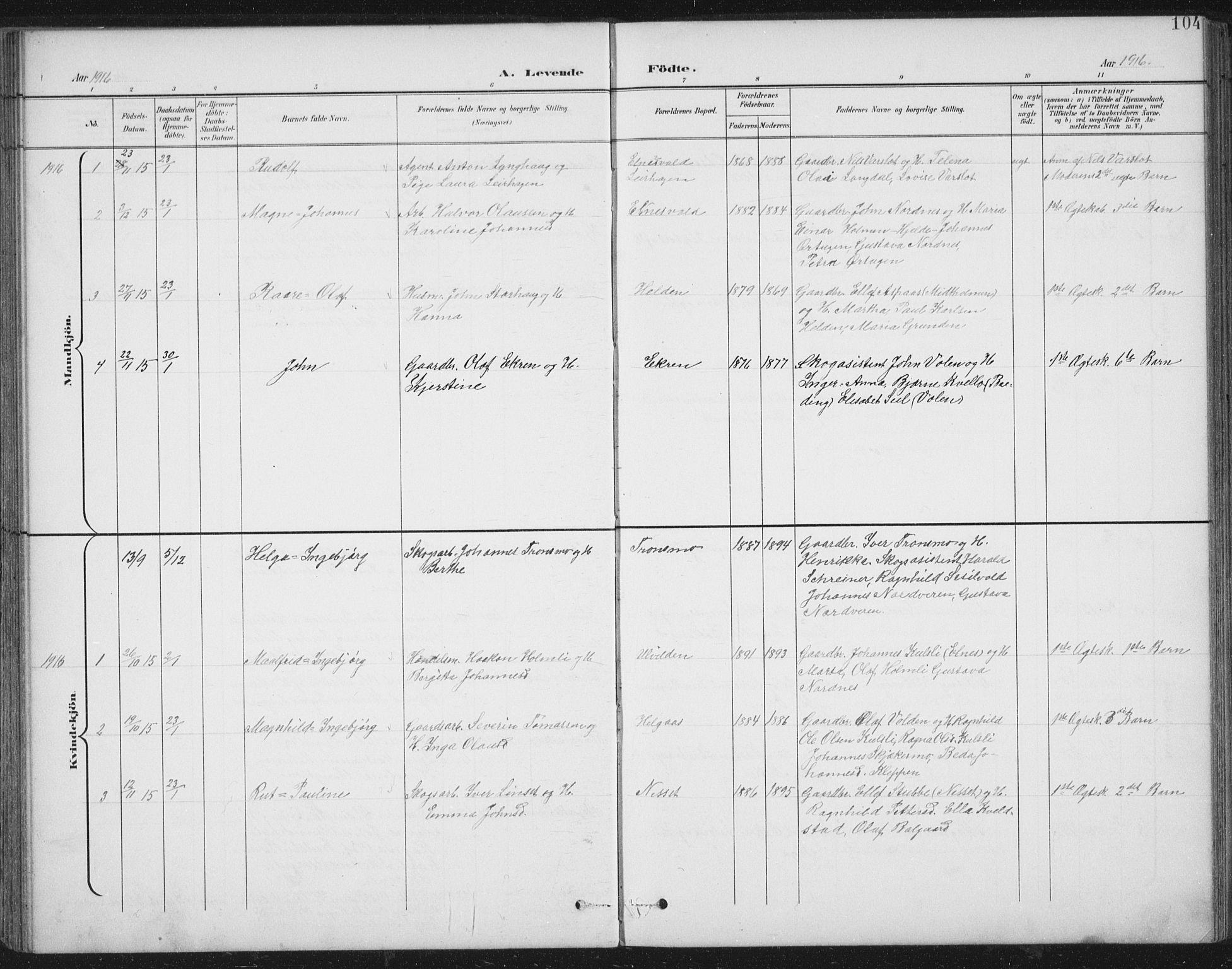 SAT, Ministerialprotokoller, klokkerbøker og fødselsregistre - Nord-Trøndelag, 724/L0269: Klokkerbok nr. 724C05, 1899-1920, s. 104