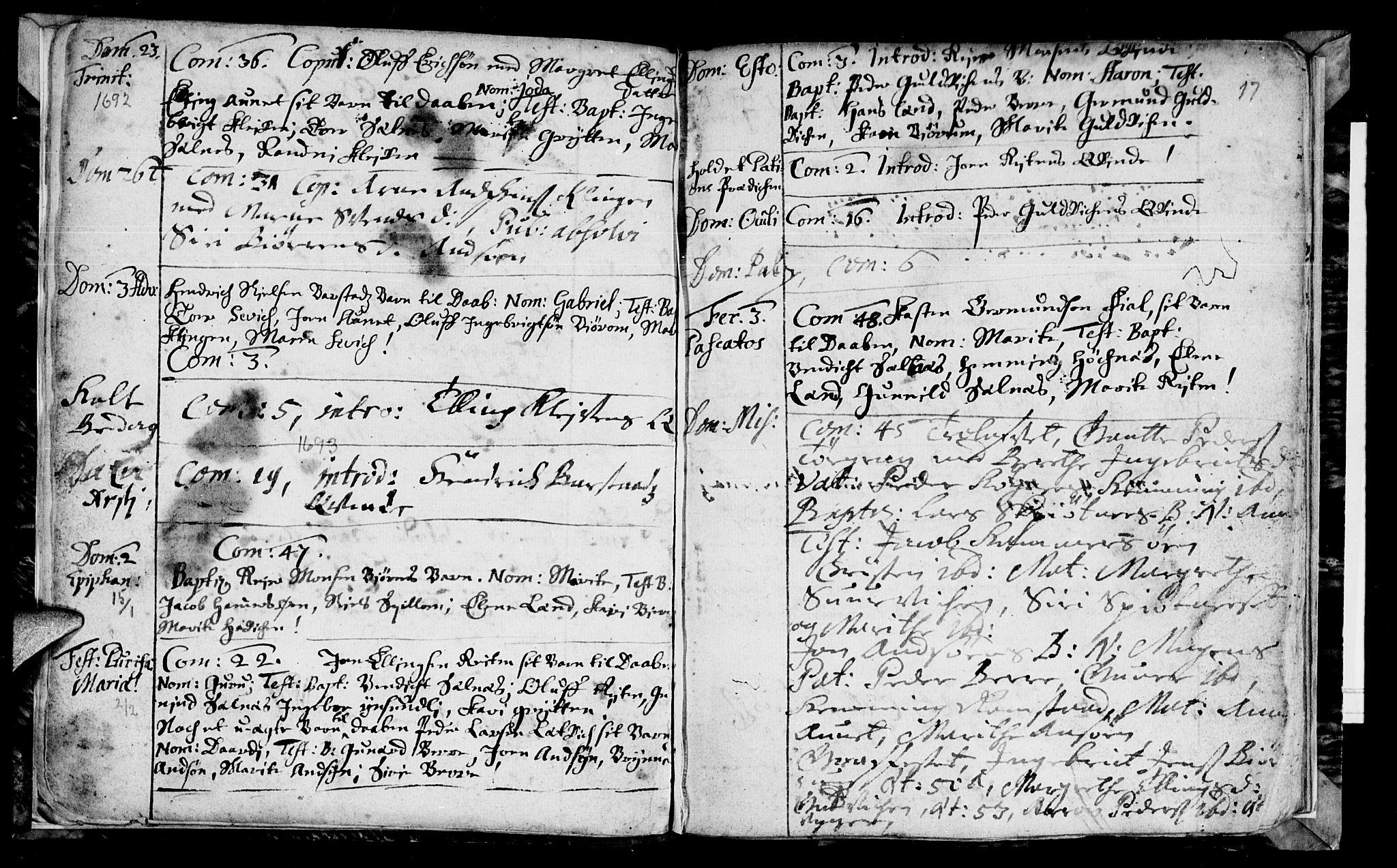 SAT, Ministerialprotokoller, klokkerbøker og fødselsregistre - Nord-Trøndelag, 770/L0587: Ministerialbok nr. 770A01, 1689-1697, s. 16-17