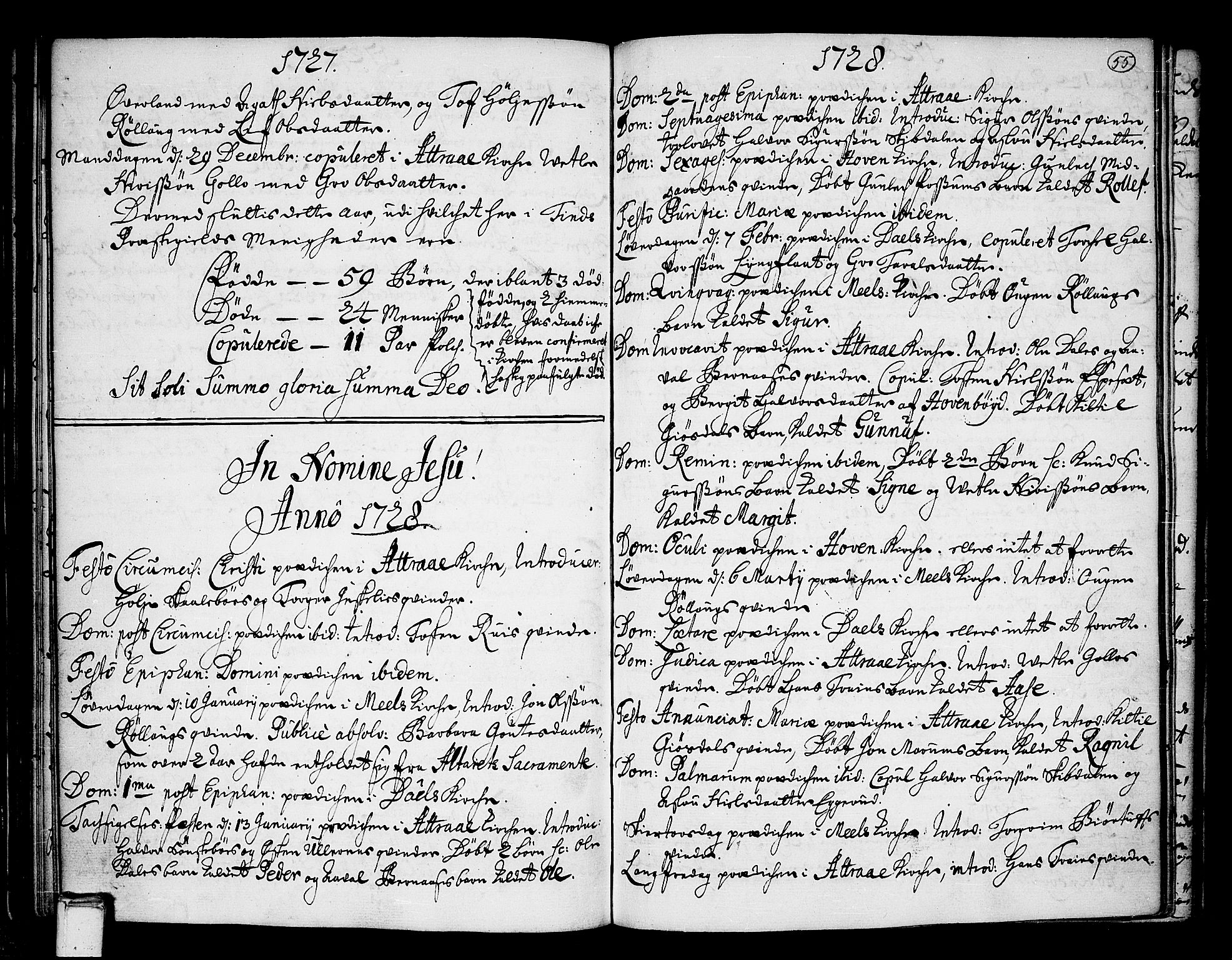 SAKO, Tinn kirkebøker, F/Fa/L0001: Ministerialbok nr. I 1, 1717-1734, s. 55