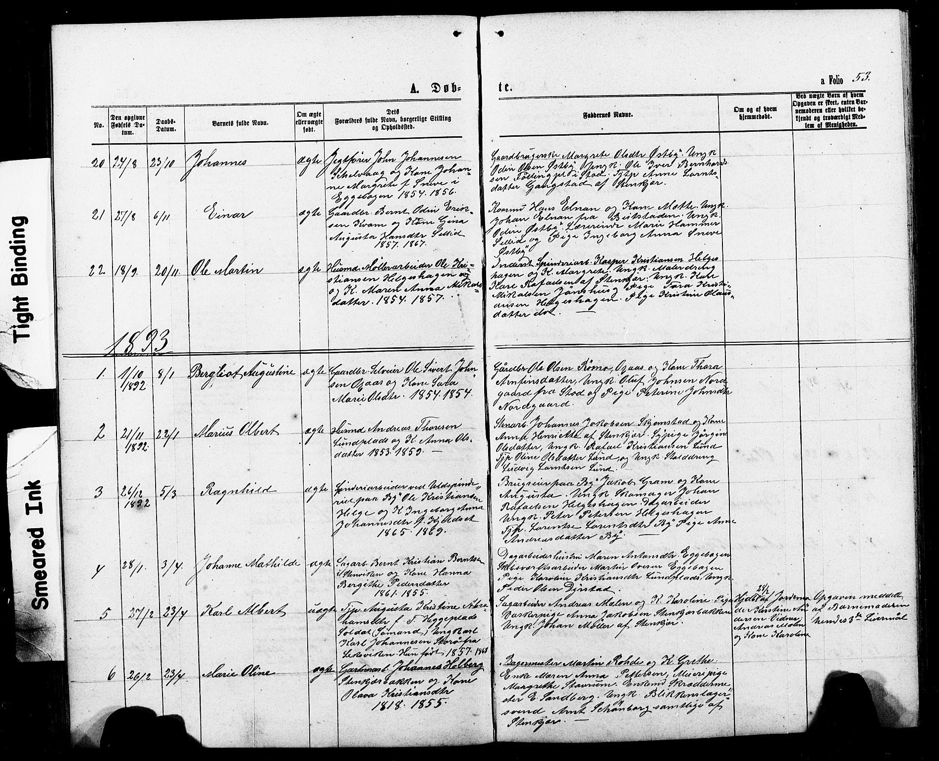 SAT, Ministerialprotokoller, klokkerbøker og fødselsregistre - Nord-Trøndelag, 740/L0380: Klokkerbok nr. 740C01, 1868-1902, s. 53