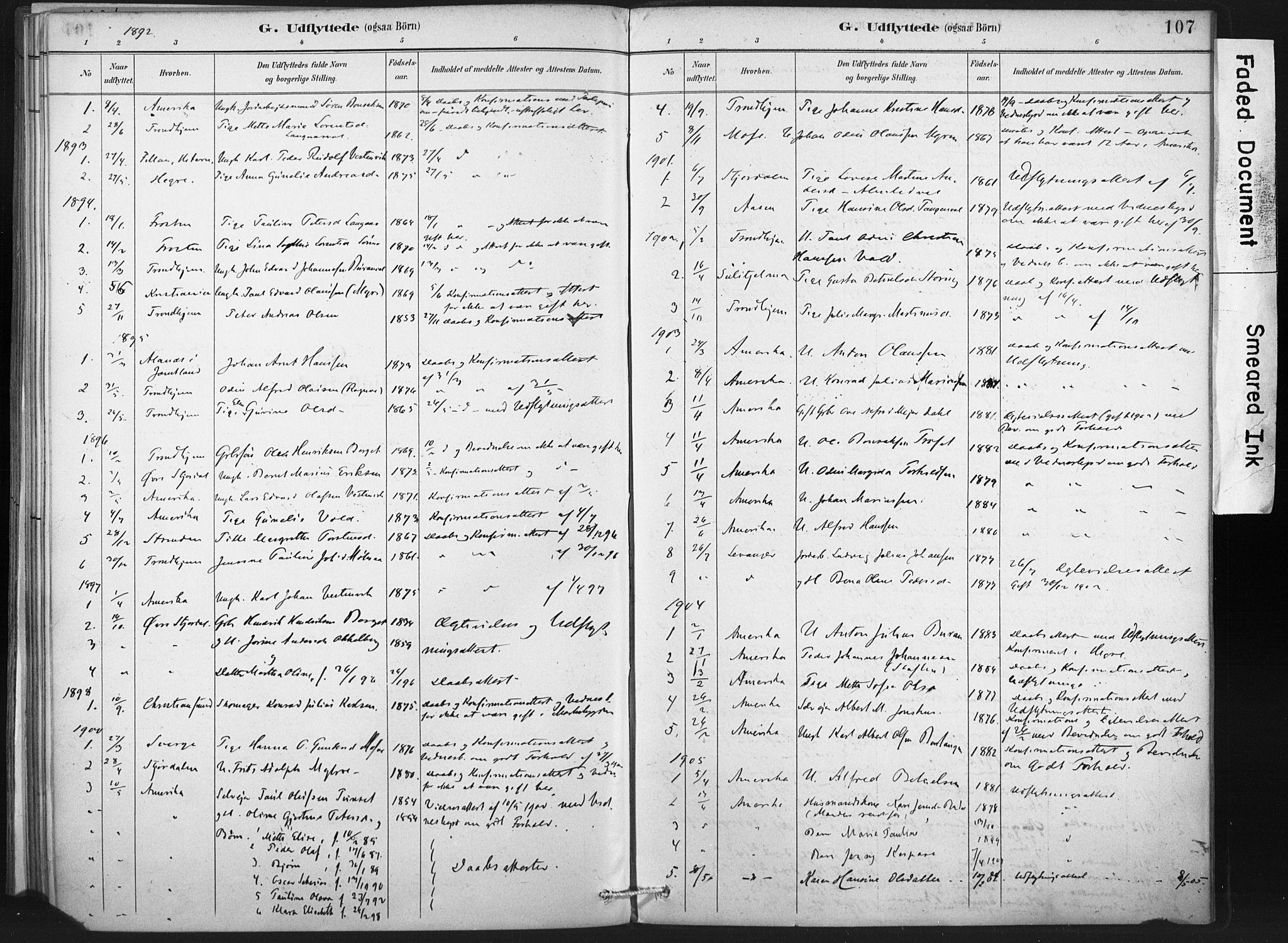 SAT, Ministerialprotokoller, klokkerbøker og fødselsregistre - Nord-Trøndelag, 718/L0175: Ministerialbok nr. 718A01, 1890-1923, s. 107