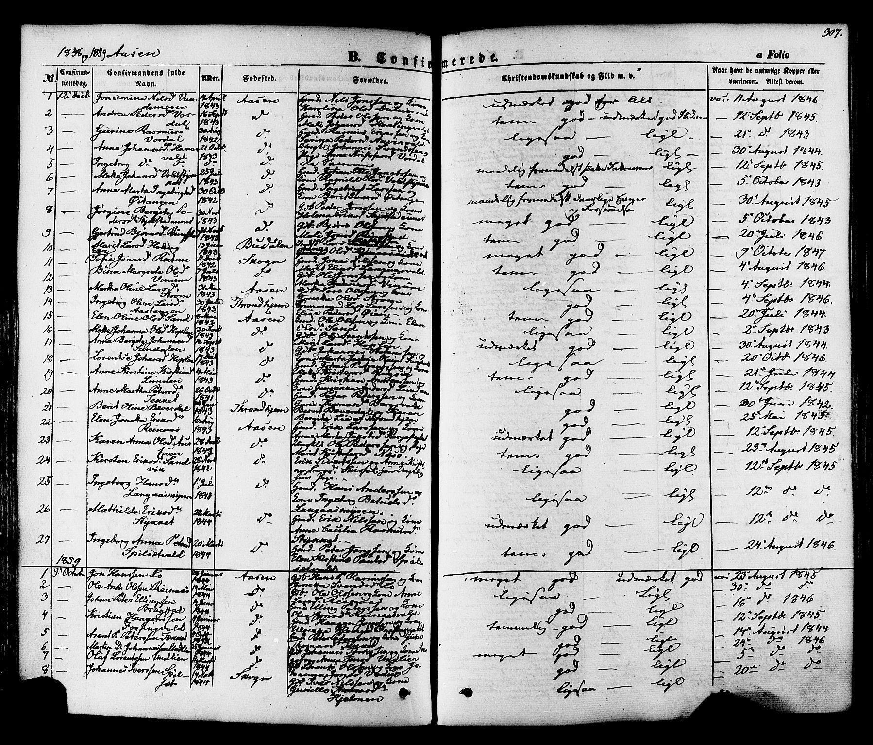 SAT, Ministerialprotokoller, klokkerbøker og fødselsregistre - Nord-Trøndelag, 713/L0116: Ministerialbok nr. 713A07, 1850-1877, s. 307
