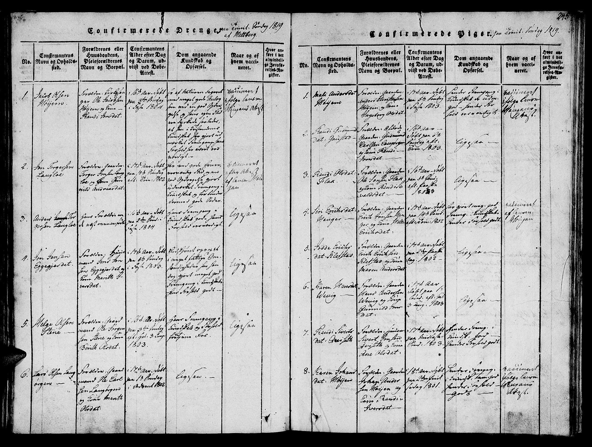 SAT, Ministerialprotokoller, klokkerbøker og fødselsregistre - Sør-Trøndelag, 612/L0372: Ministerialbok nr. 612A06 /1, 1816-1828, s. 245