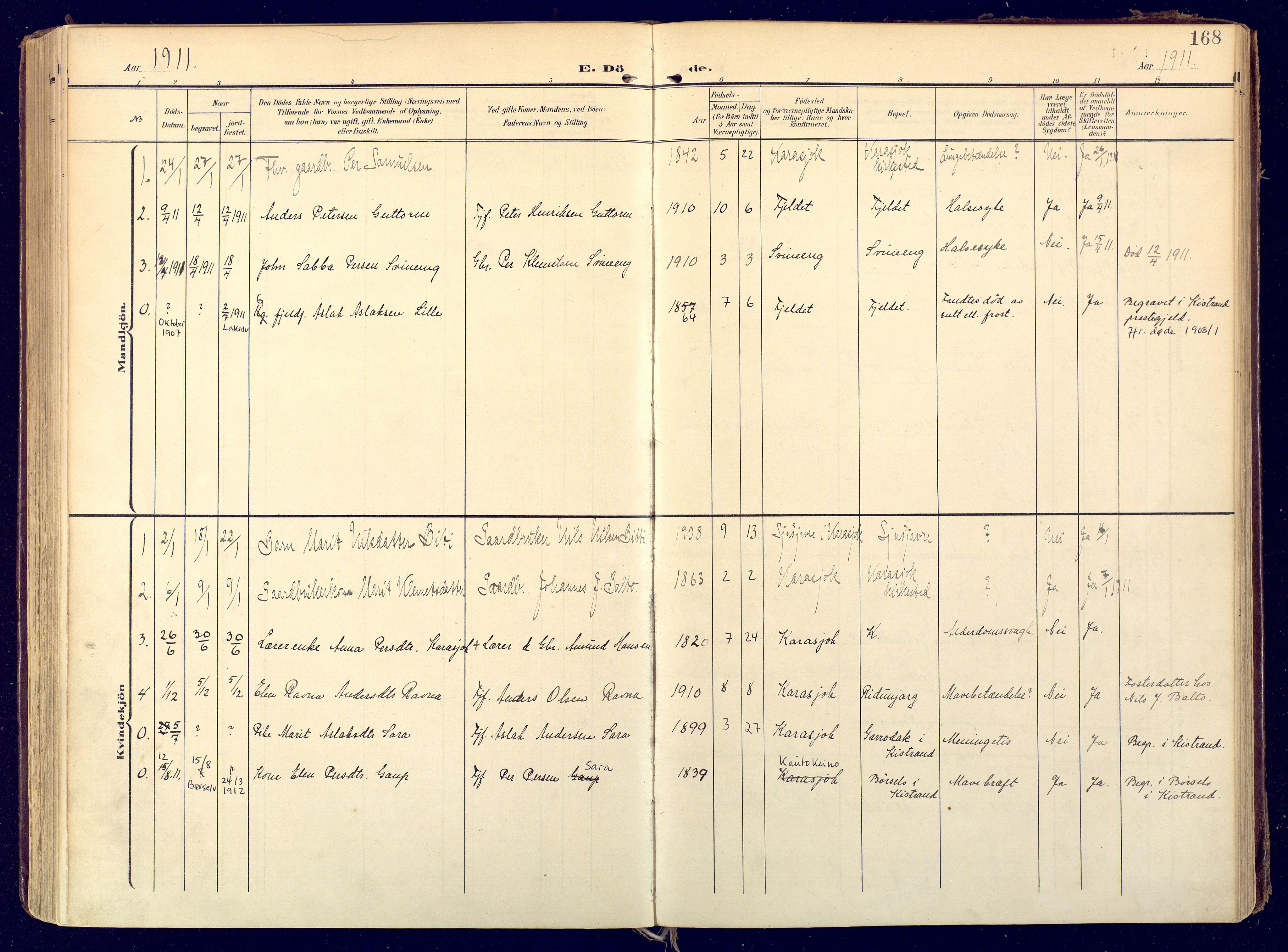 SATØ, Karasjok sokneprestkontor, H/Ha: Ministerialbok nr. 3, 1907-1926, s. 168