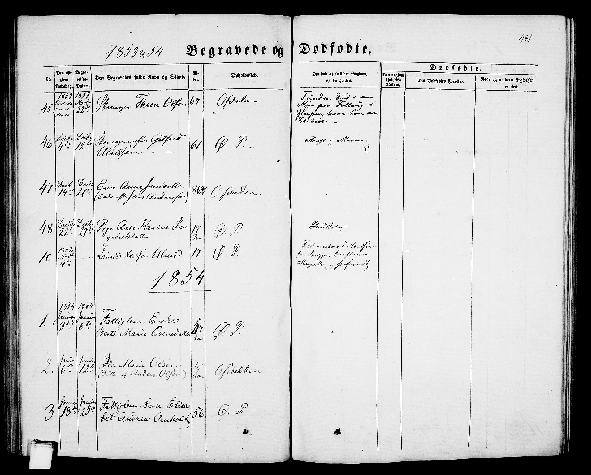 SAKO, Porsgrunn kirkebøker , G/Gb/L0004: Klokkerbok nr. II 4, 1853-1882, s. 481