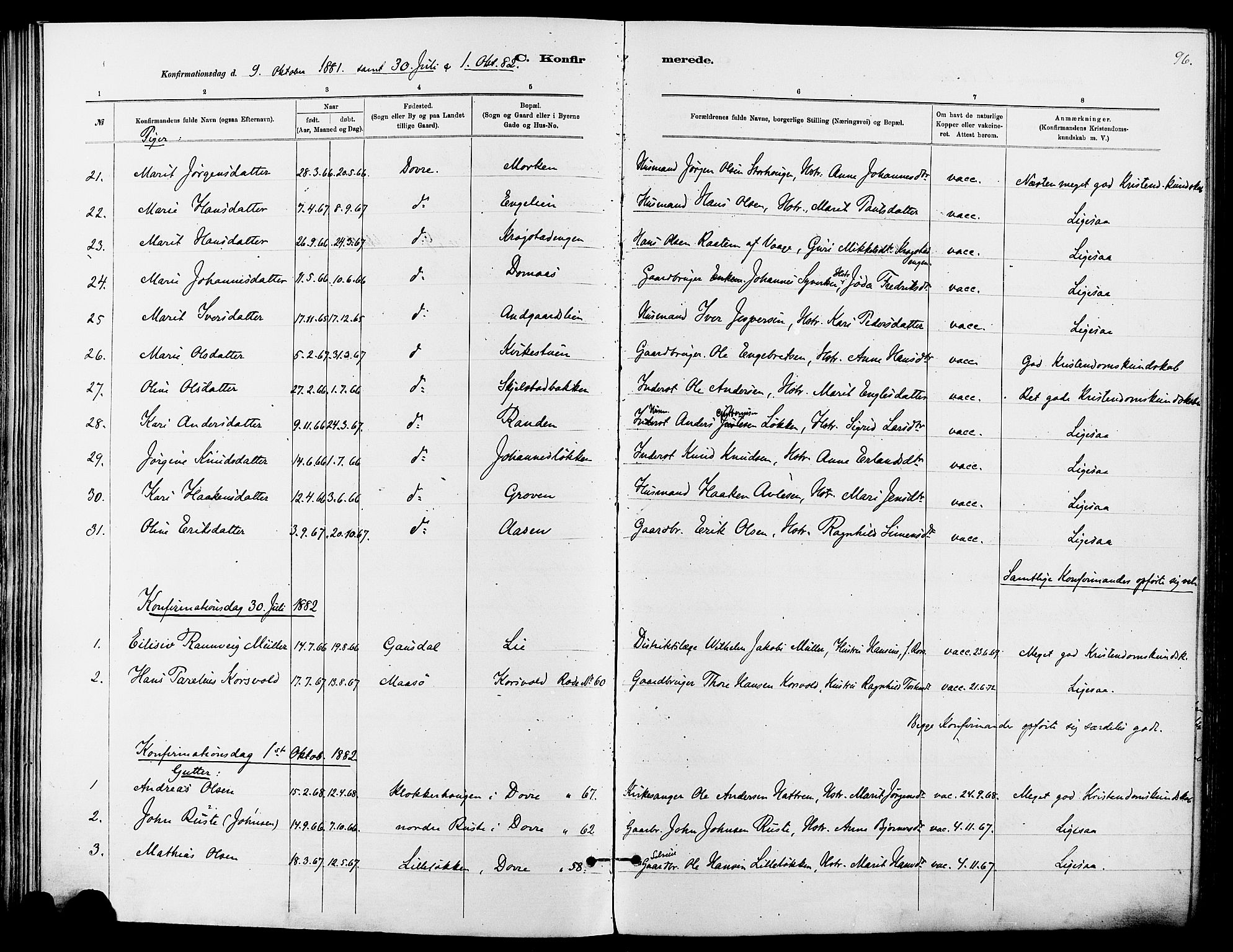 SAH, Dovre prestekontor, Ministerialbok nr. 2, 1879-1890, s. 96