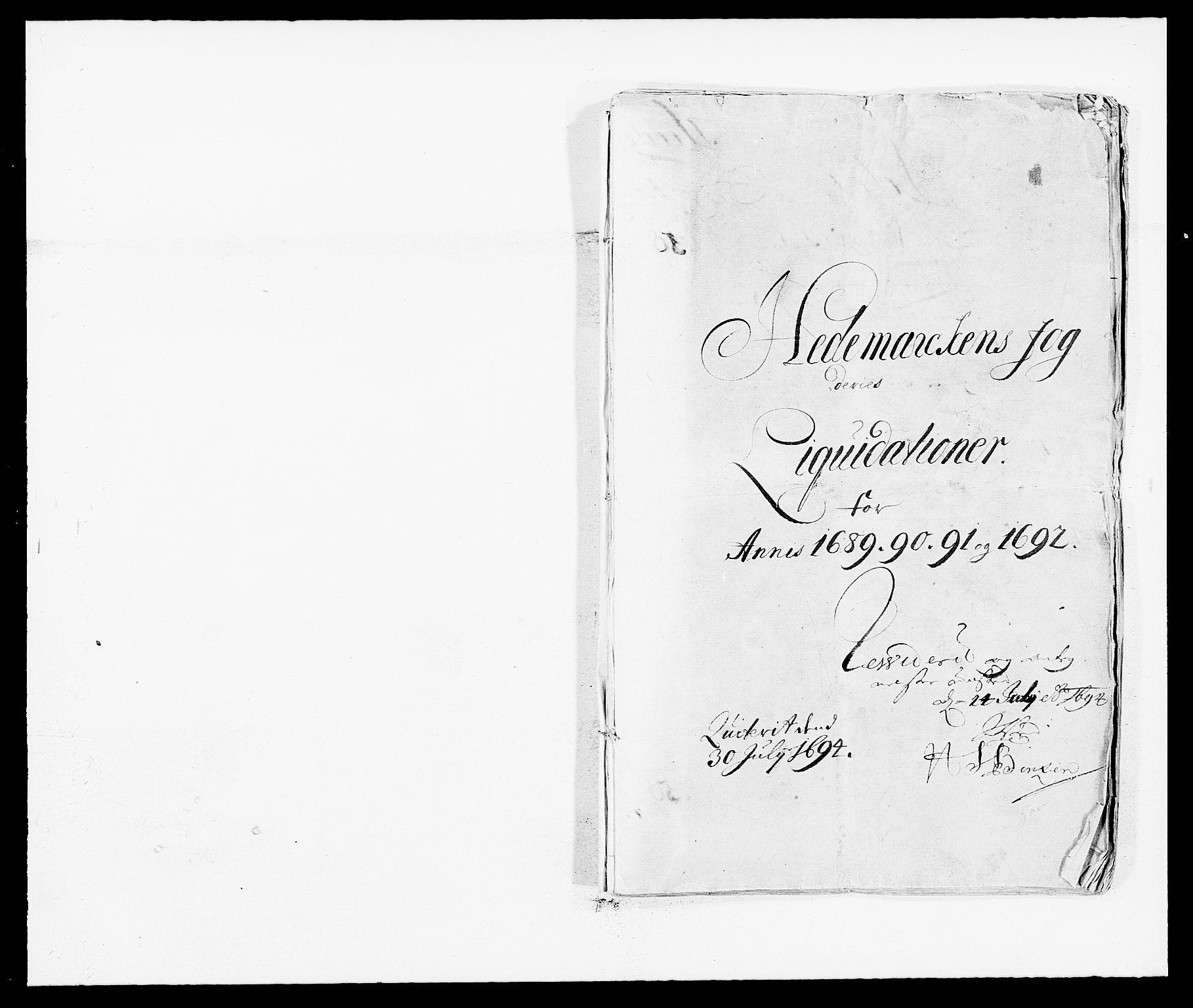 RA, Rentekammeret inntil 1814, Reviderte regnskaper, Fogderegnskap, R16/L1030: Fogderegnskap Hedmark, 1689-1691, s. 1