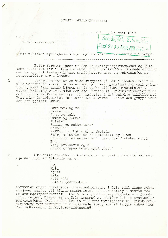 RA, Sosialdepartementet, 2. sosialkontor D*, 1940-1942, s. 1