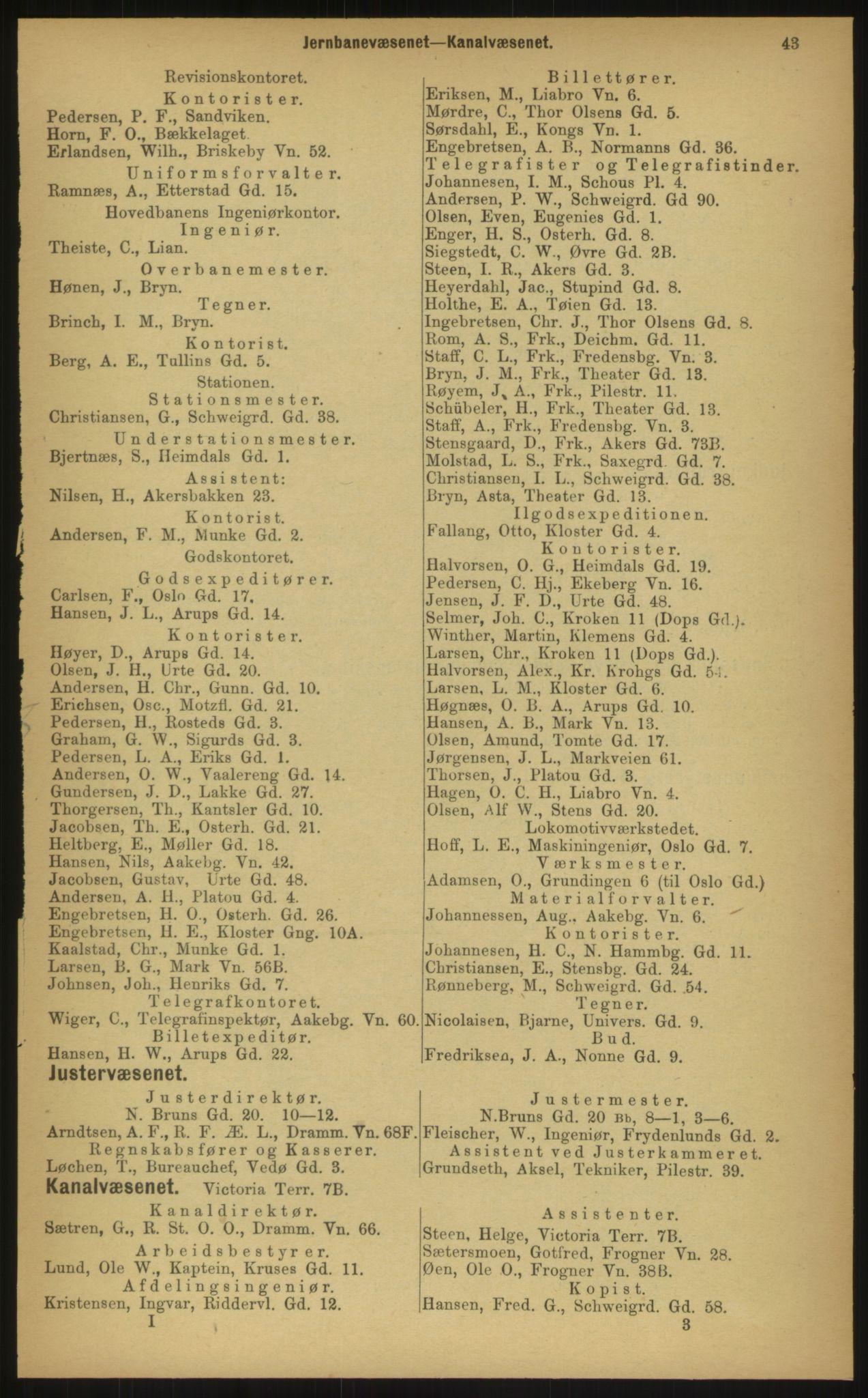 PUBL, Kristiania/Oslo adressebok, 1897, s. 43