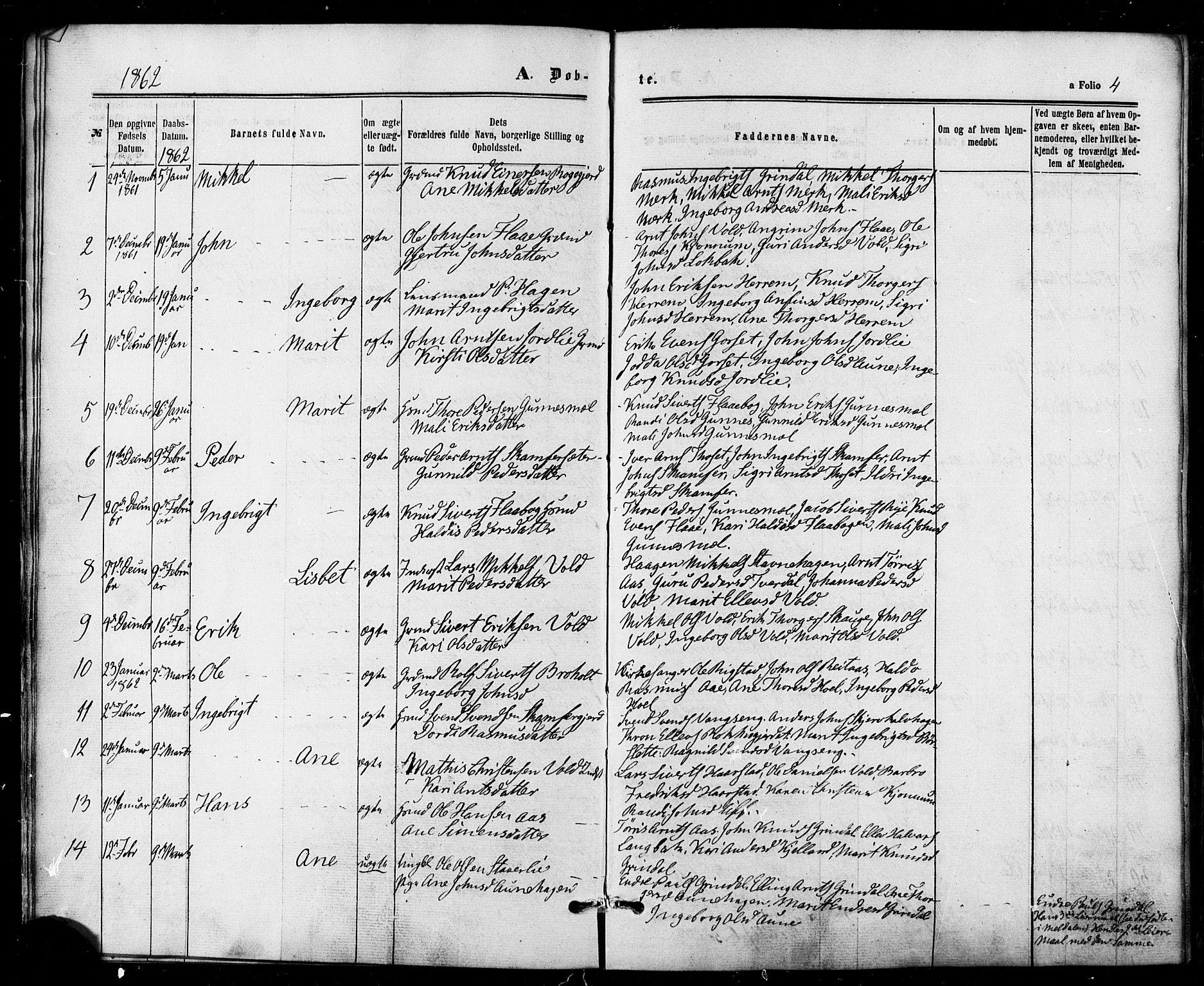 SAT, Ministerialprotokoller, klokkerbøker og fødselsregistre - Sør-Trøndelag, 674/L0870: Ministerialbok nr. 674A02, 1861-1879, s. 4