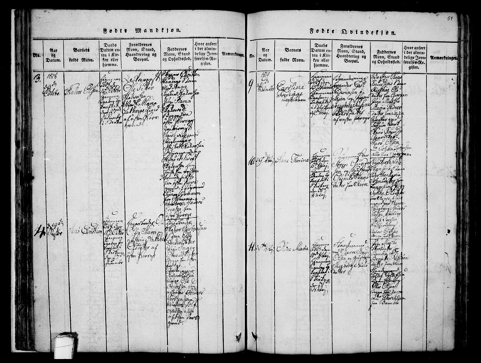 SAKO, Porsgrunn kirkebøker , F/Fa/L0004: Ministerialbok nr. 4, 1814-1828, s. 51