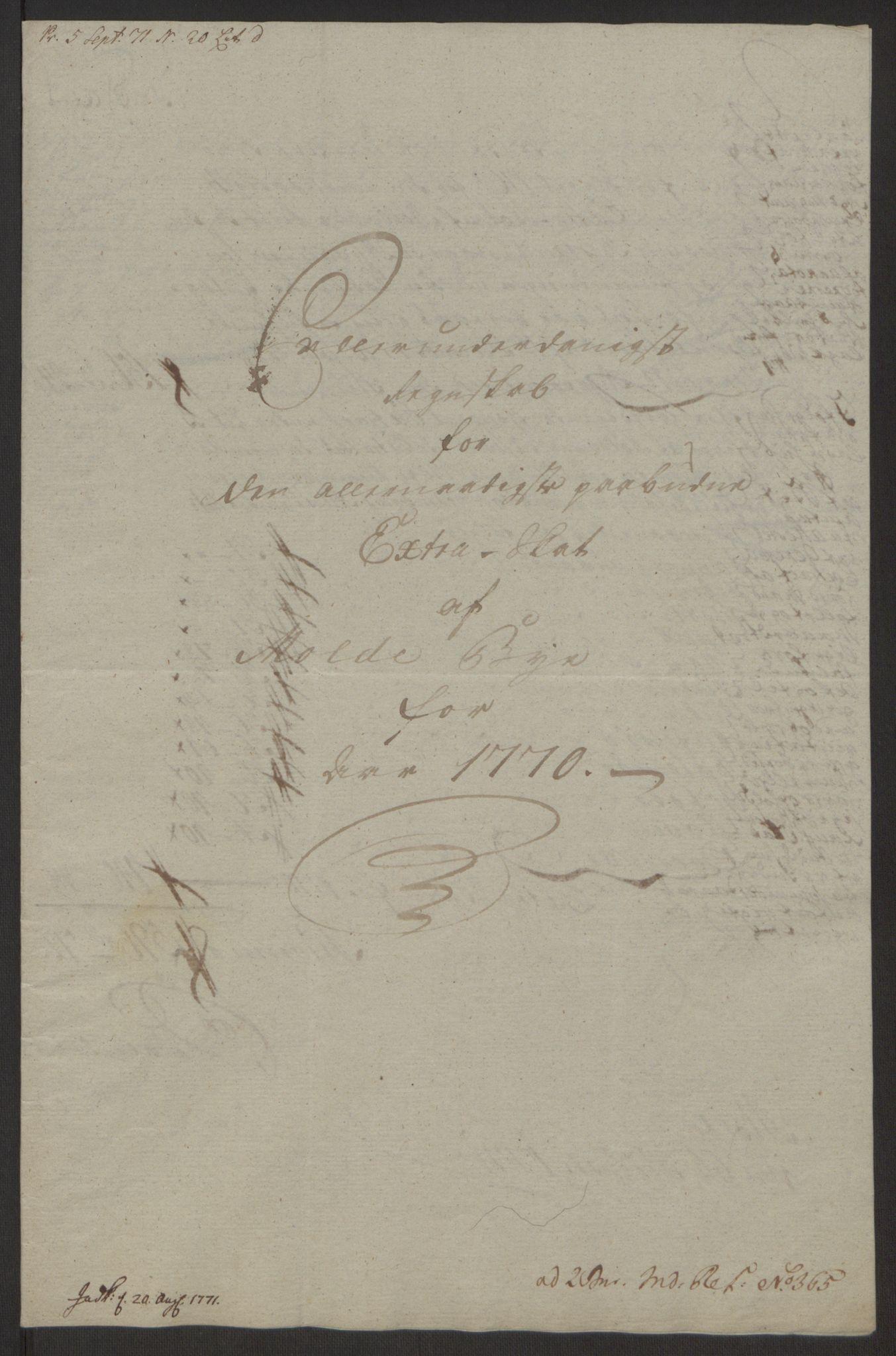 RA, Rentekammeret inntil 1814, Reviderte regnskaper, Byregnskaper, R/Rq/L0487: [Q1] Kontribusjonsregnskap, 1762-1772, s. 181
