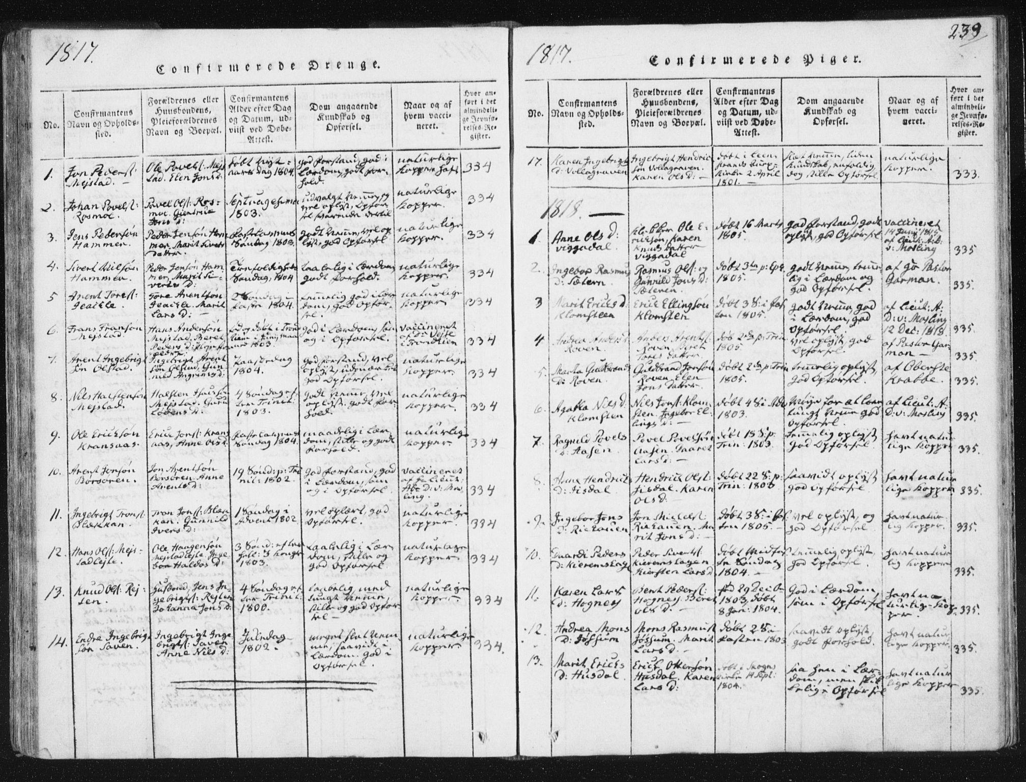 SAT, Ministerialprotokoller, klokkerbøker og fødselsregistre - Sør-Trøndelag, 665/L0770: Ministerialbok nr. 665A05, 1817-1829, s. 239