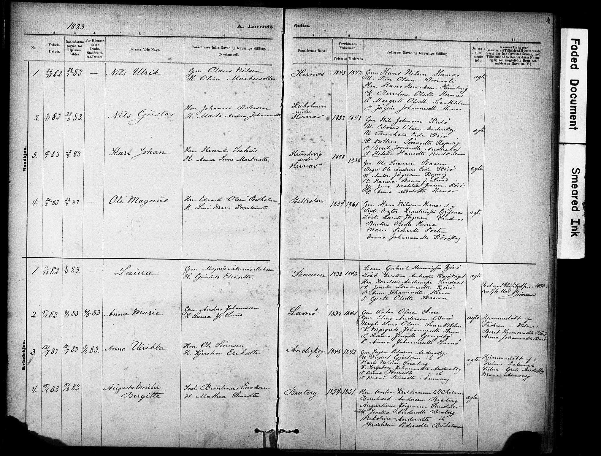 SAT, Ministerialprotokoller, klokkerbøker og fødselsregistre - Sør-Trøndelag, 635/L0551: Ministerialbok nr. 635A01, 1882-1899, s. 4