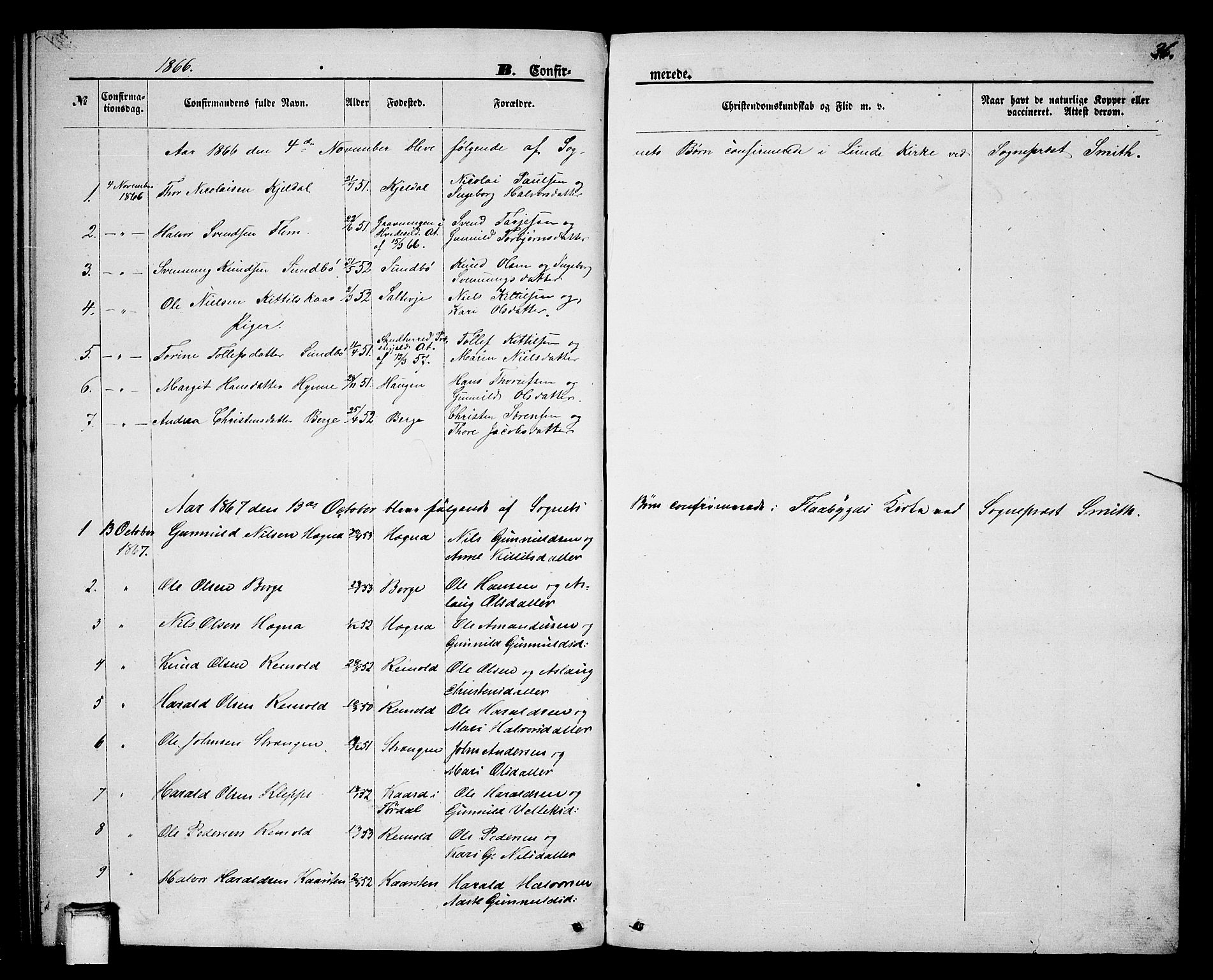 SAKO, Lunde kirkebøker, G/Gb/L0001: Klokkerbok nr. II 1, 1866-1887, s. 36