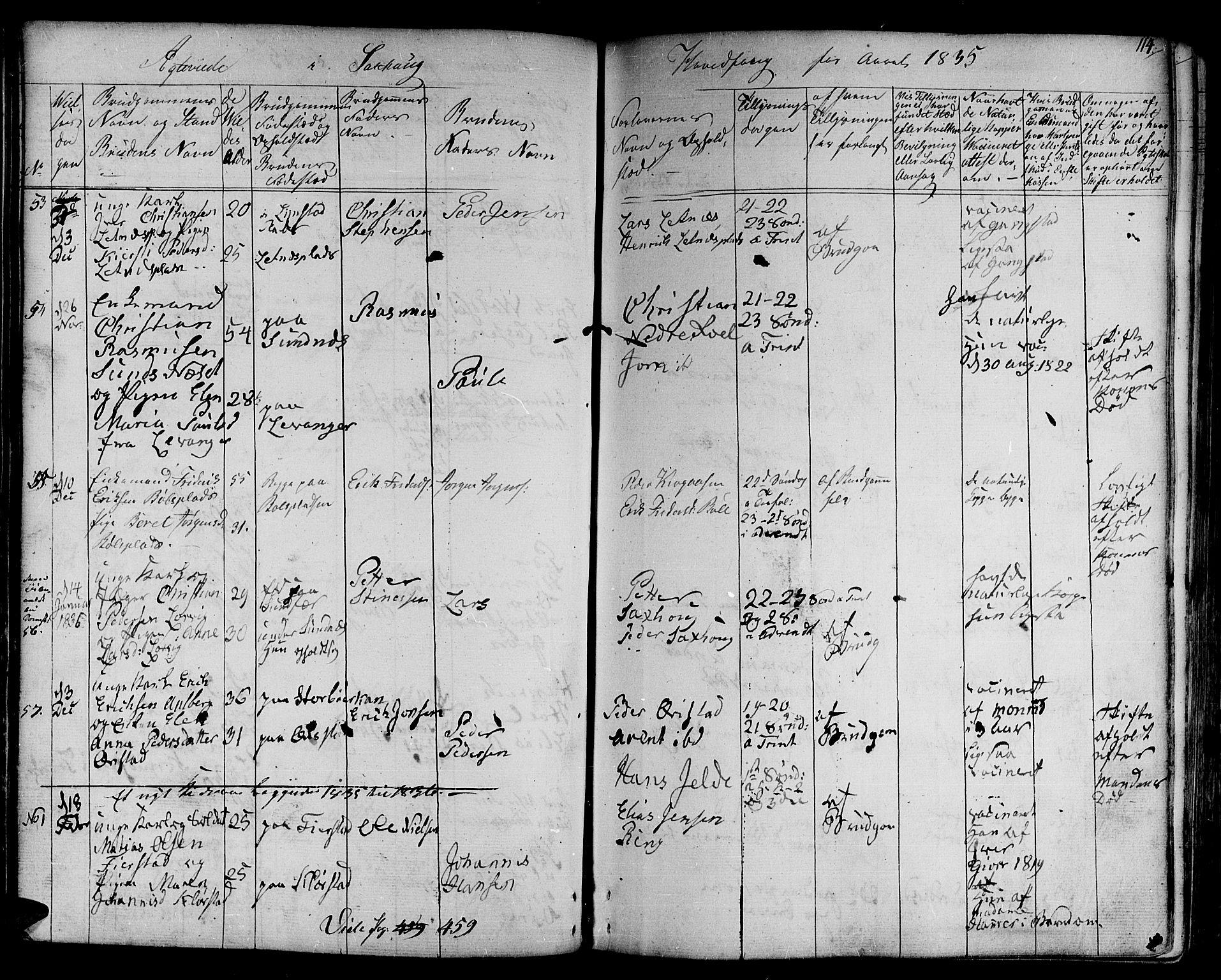 SAT, Ministerialprotokoller, klokkerbøker og fødselsregistre - Nord-Trøndelag, 730/L0277: Ministerialbok nr. 730A06 /1, 1830-1839, s. 114