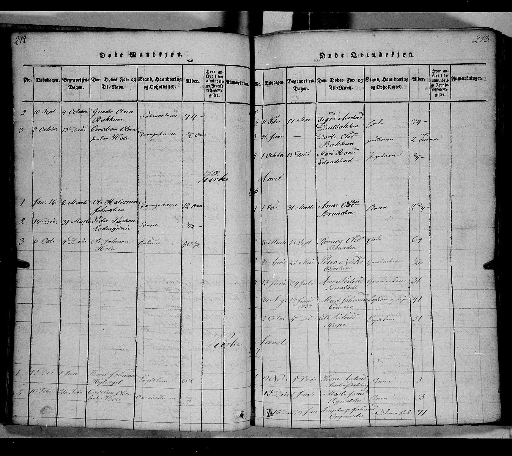 SAH, Gausdal prestekontor, Klokkerbok nr. 2, 1818-1874, s. 212-213