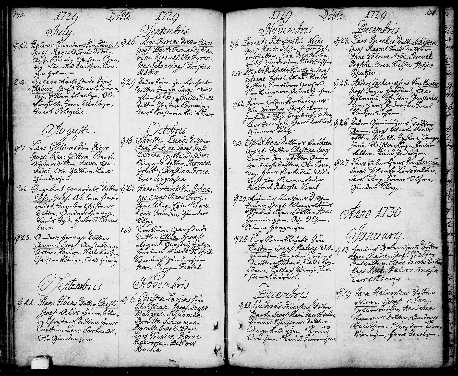 SAKO, Bamble kirkebøker, F/Fa/L0001: Ministerialbok nr. I 1, 1702-1774, s. 170-171