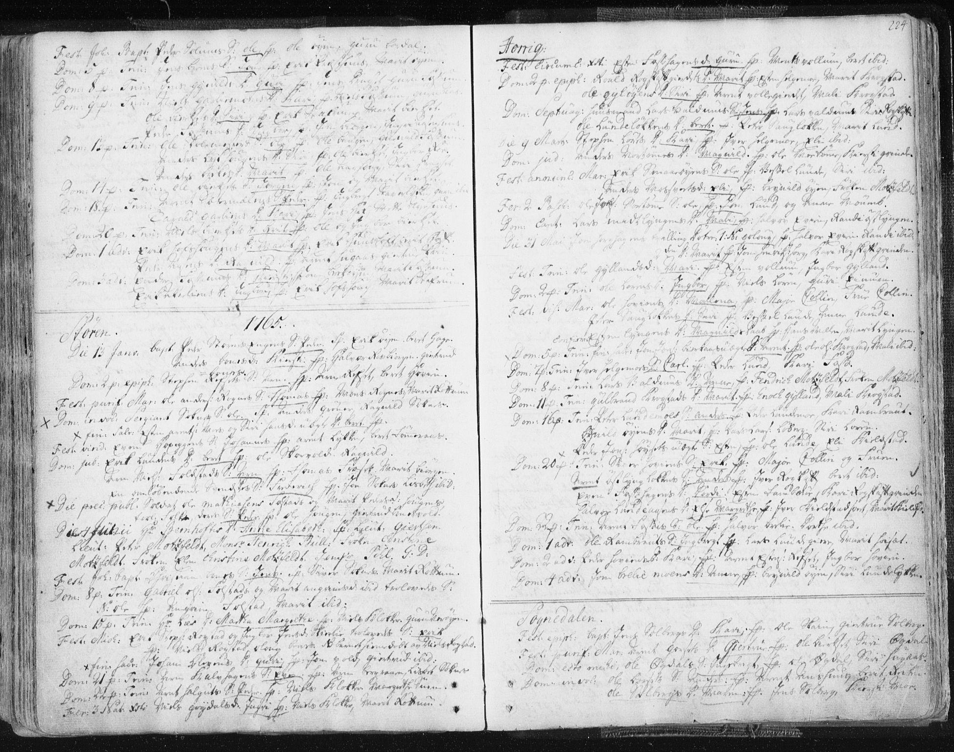 SAT, Ministerialprotokoller, klokkerbøker og fødselsregistre - Sør-Trøndelag, 687/L0991: Ministerialbok nr. 687A02, 1747-1790, s. 224