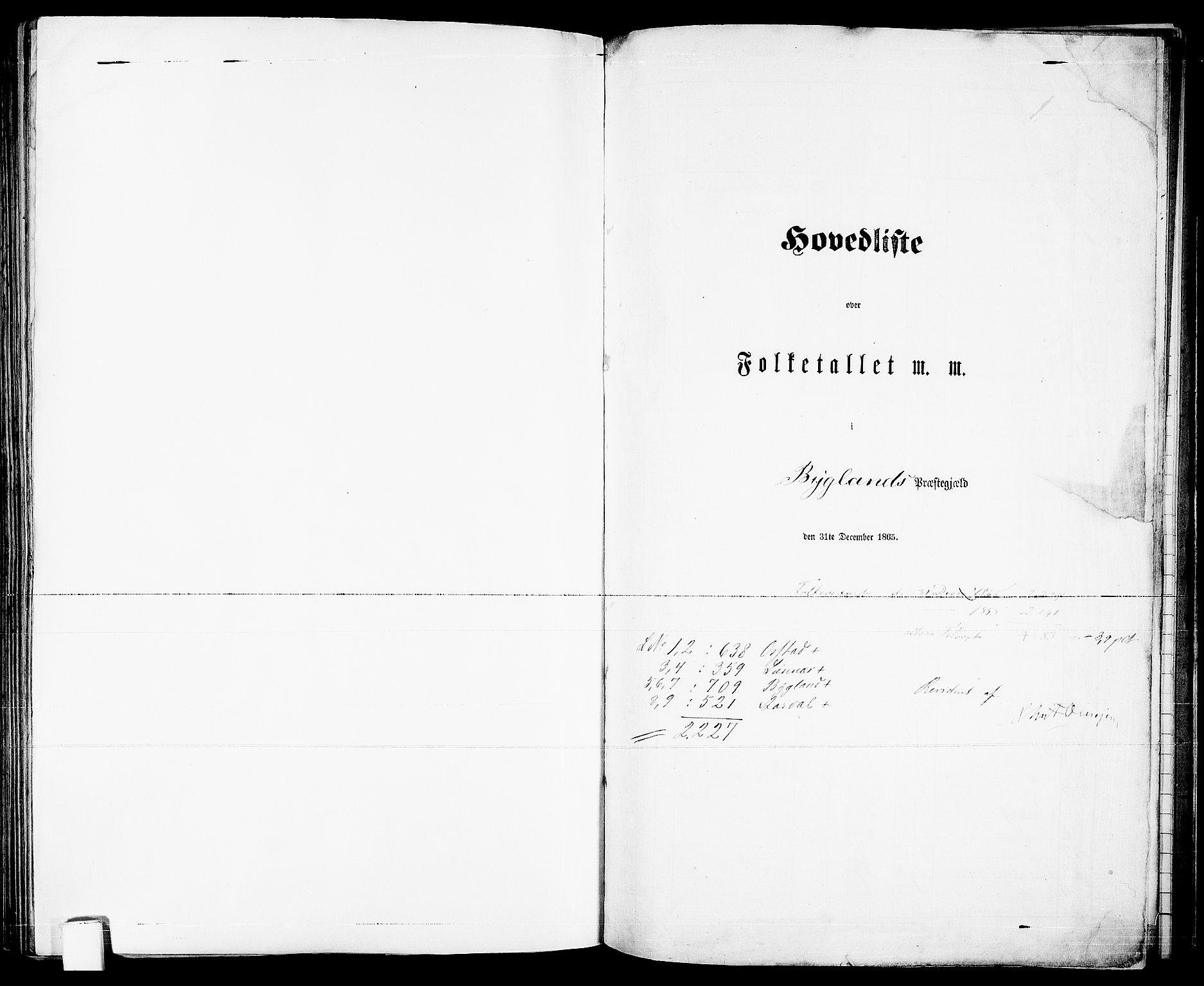 RA, Folketelling 1865 for 0938P Bygland prestegjeld, 1865, s. 1