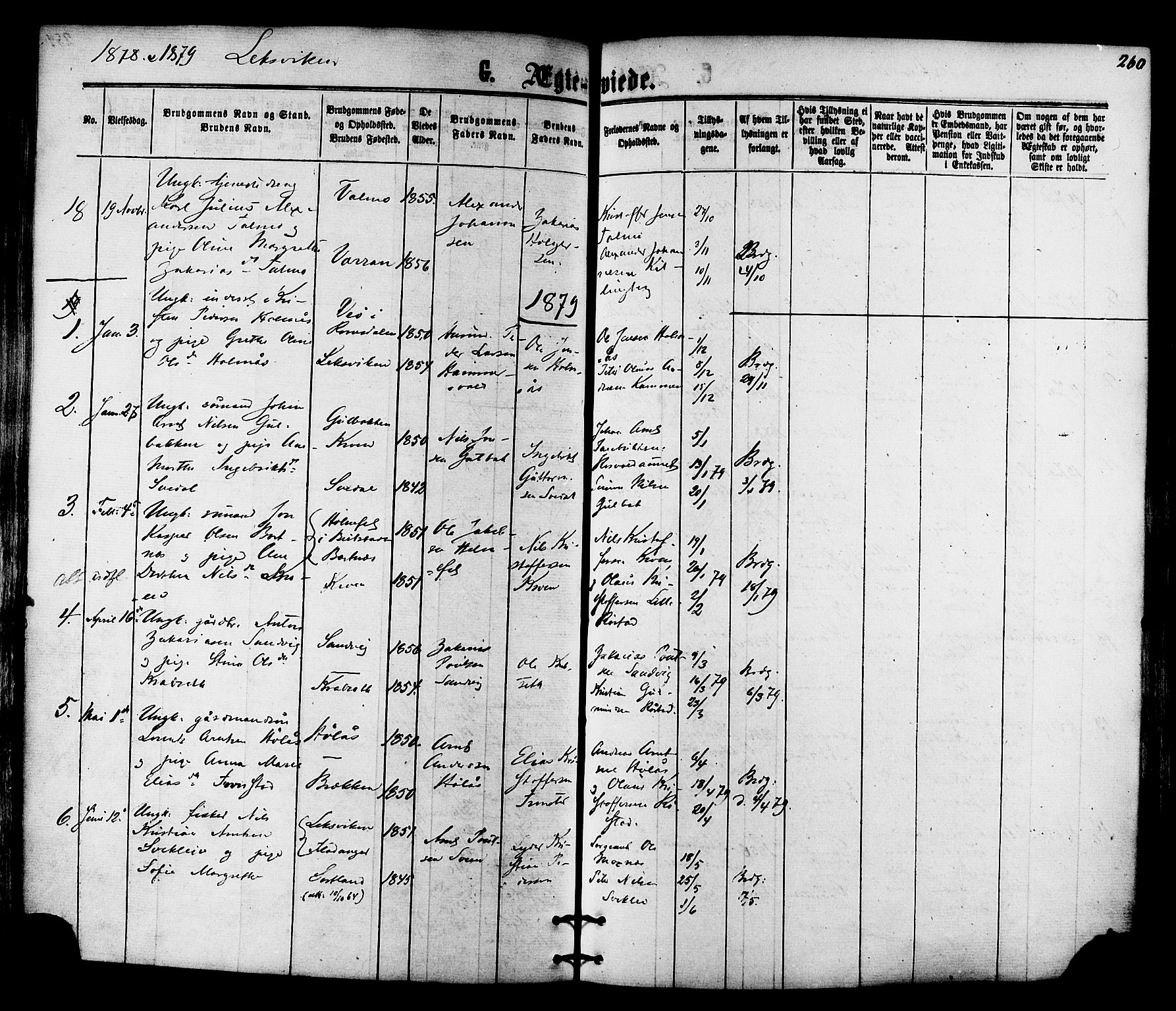 SAT, Ministerialprotokoller, klokkerbøker og fødselsregistre - Nord-Trøndelag, 701/L0009: Ministerialbok nr. 701A09 /1, 1864-1882, s. 260